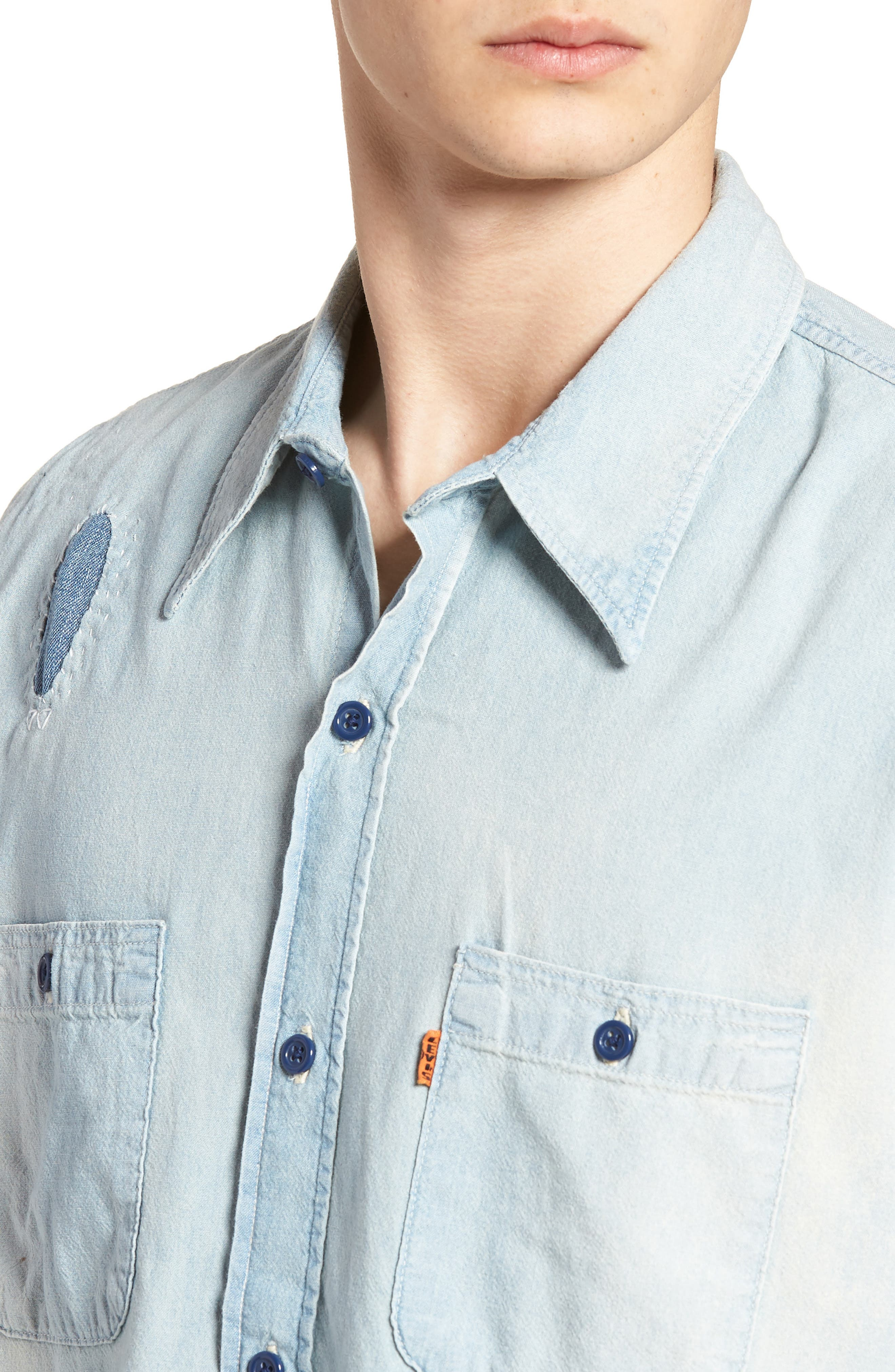 1960s Chambray Worker Shirt,                             Alternate thumbnail 4, color,                             450