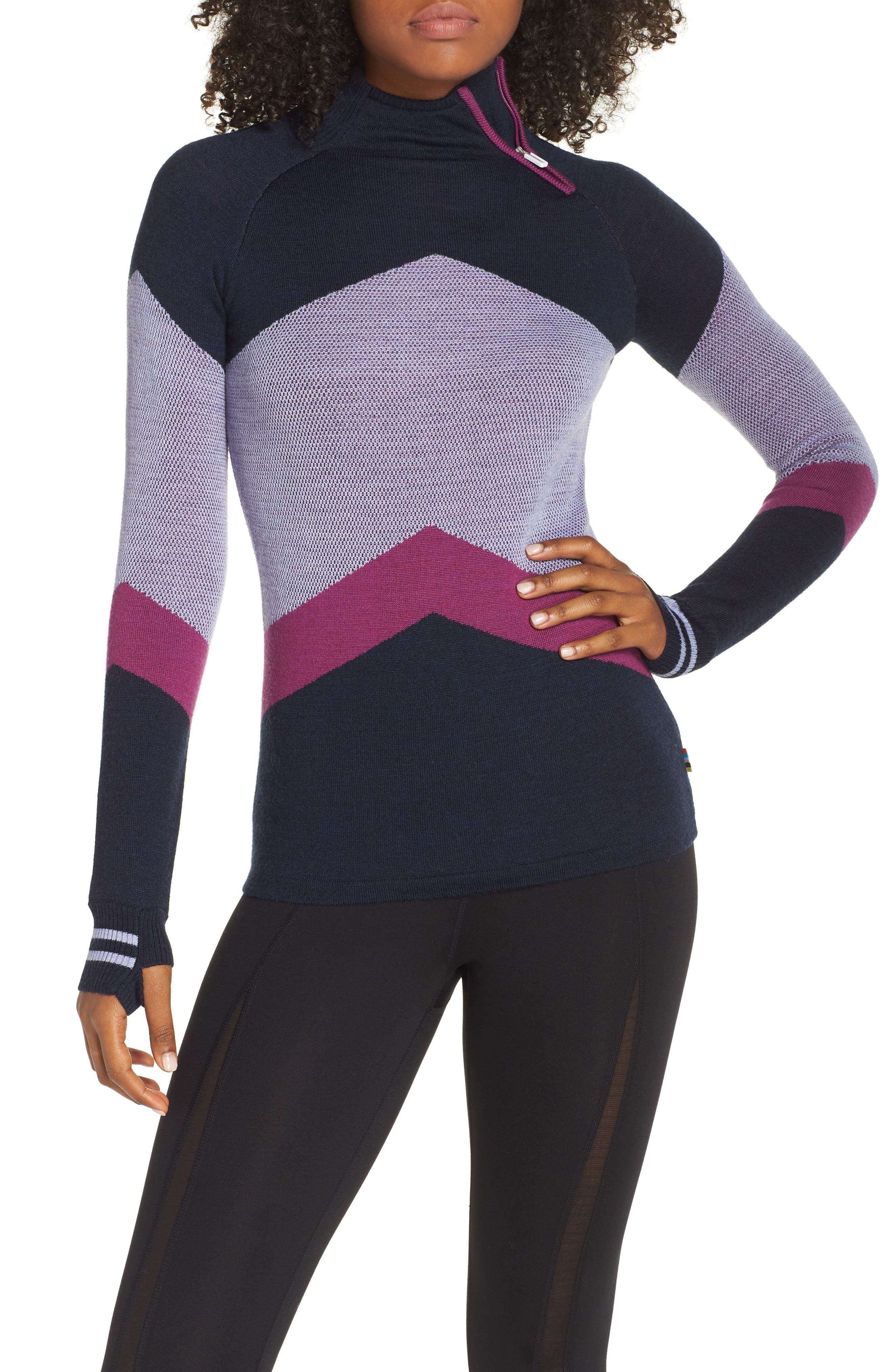 Ski Funnel Neck Sweater,                             Main thumbnail 1, color,                             DEEP NAVY HEATHER