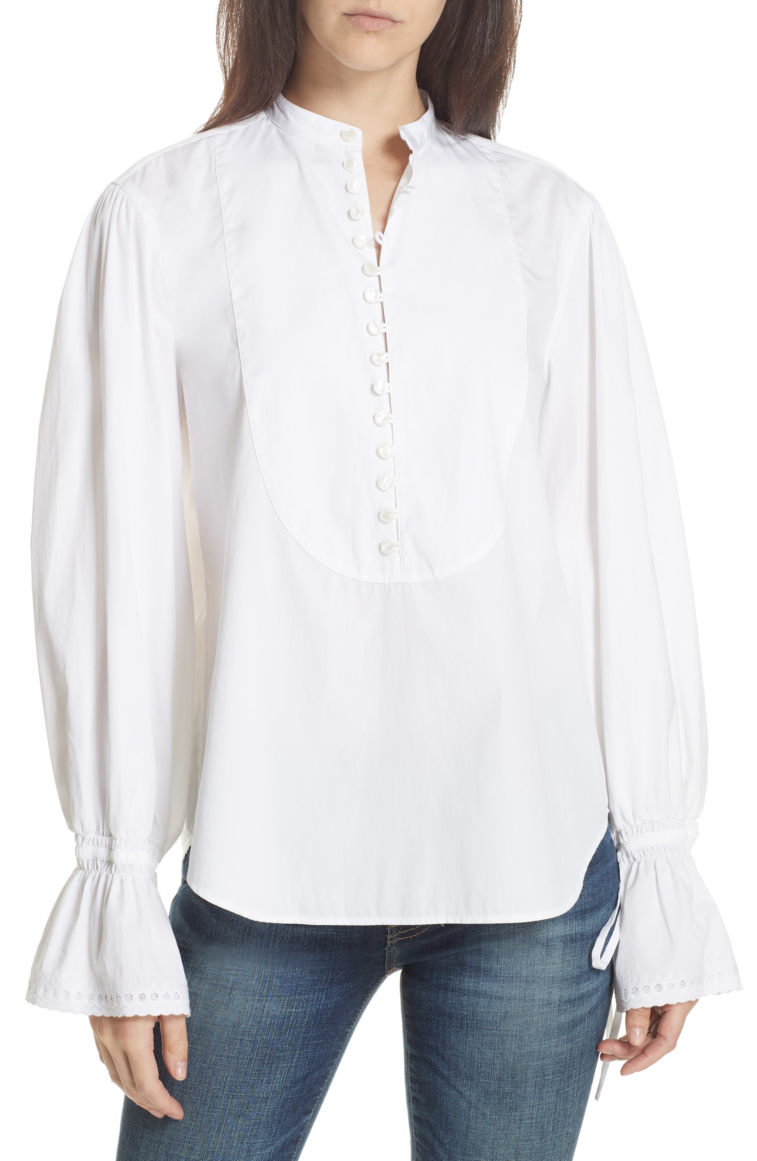 Tie Sleeve Shirt,                         Main,                         color, WHITE