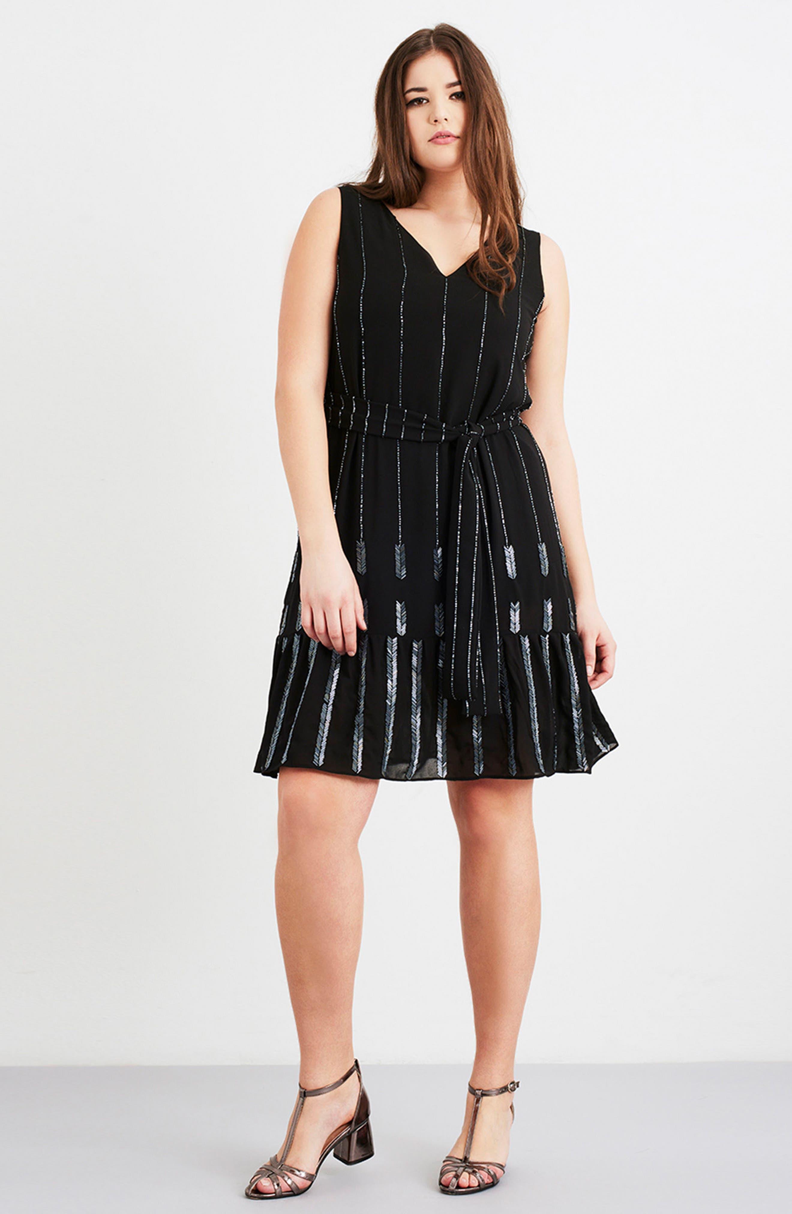 Beaded A-Line Dress,                             Alternate thumbnail 7, color,                             001