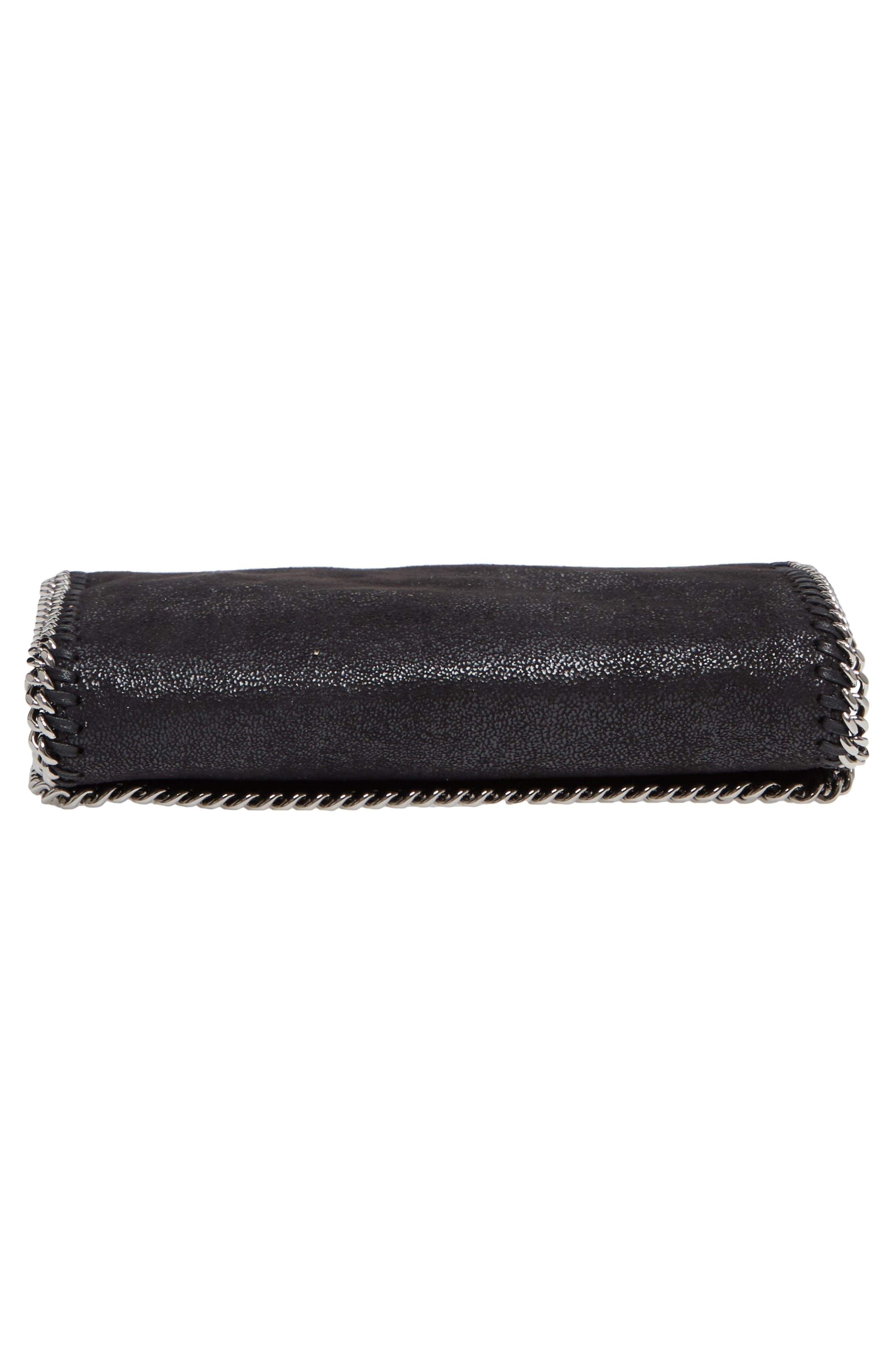 'Falabella - Shaggy Deer' Faux Leather Crossbody Bag,                             Alternate thumbnail 6, color,                             BLACK SLVR HRDWR