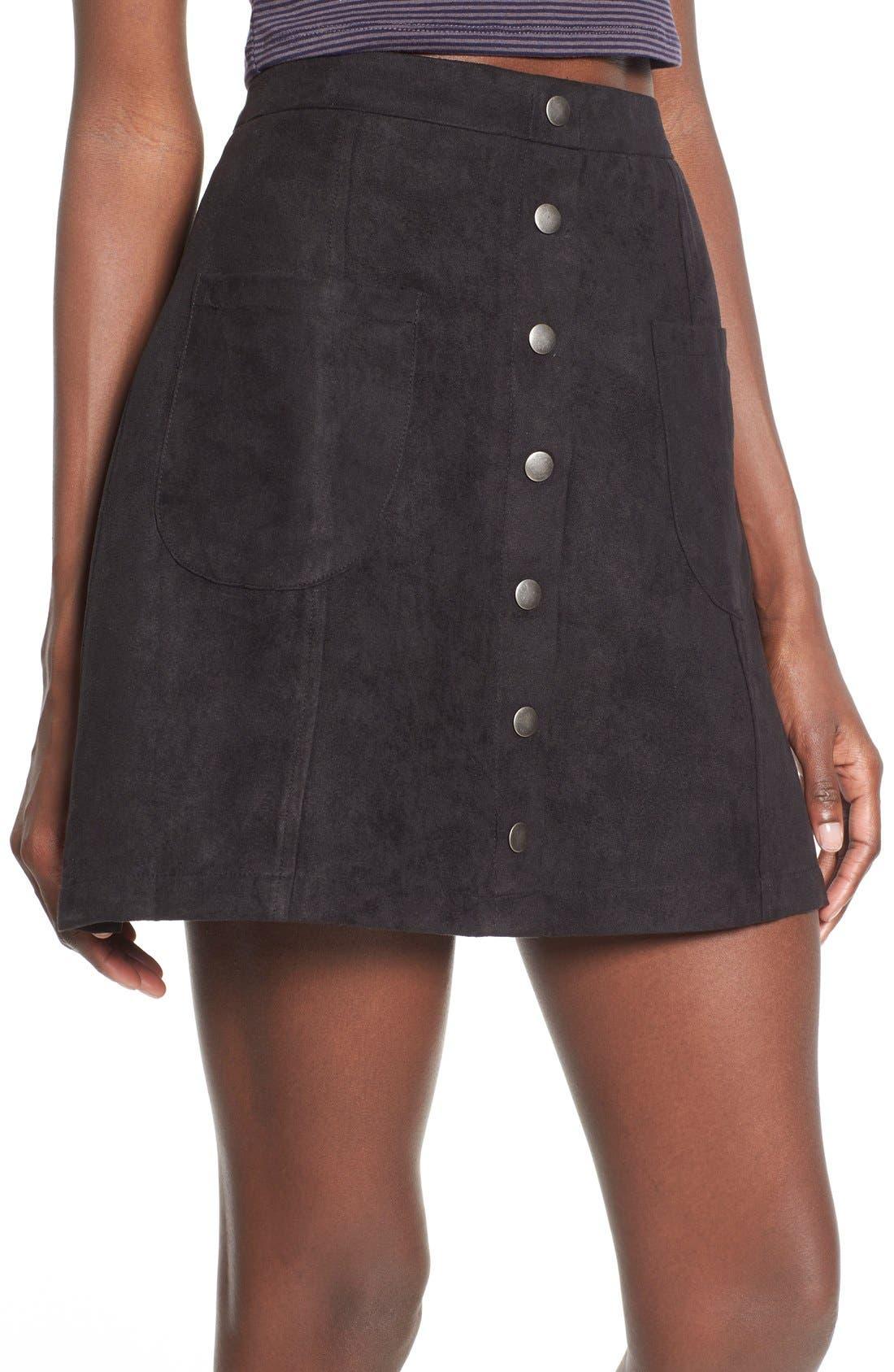 Button Front Faux Suede Skirt,                             Alternate thumbnail 2, color,                             001