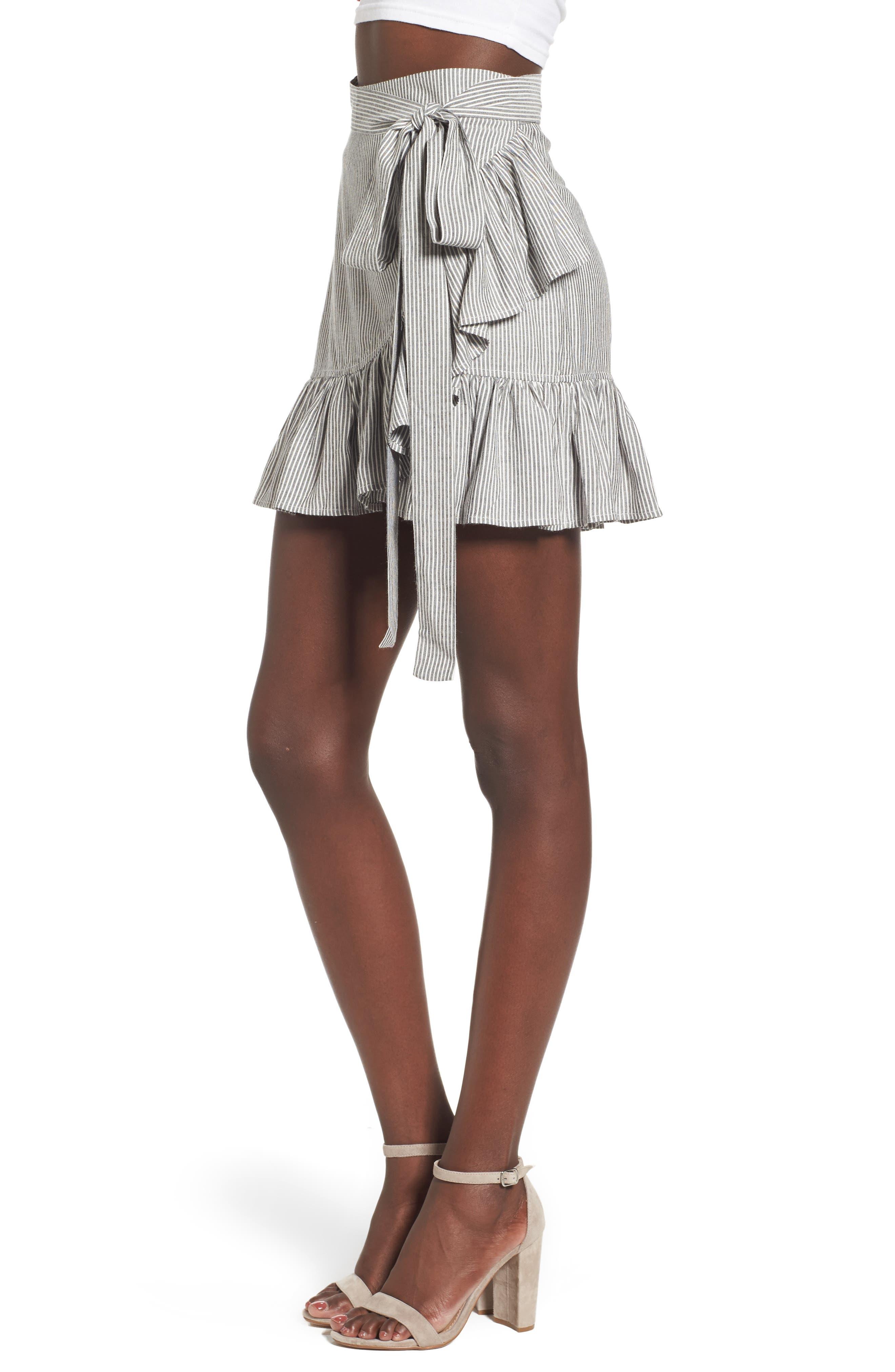 Vienna Ruffle Wrap Skirt,                             Alternate thumbnail 3, color,                             009