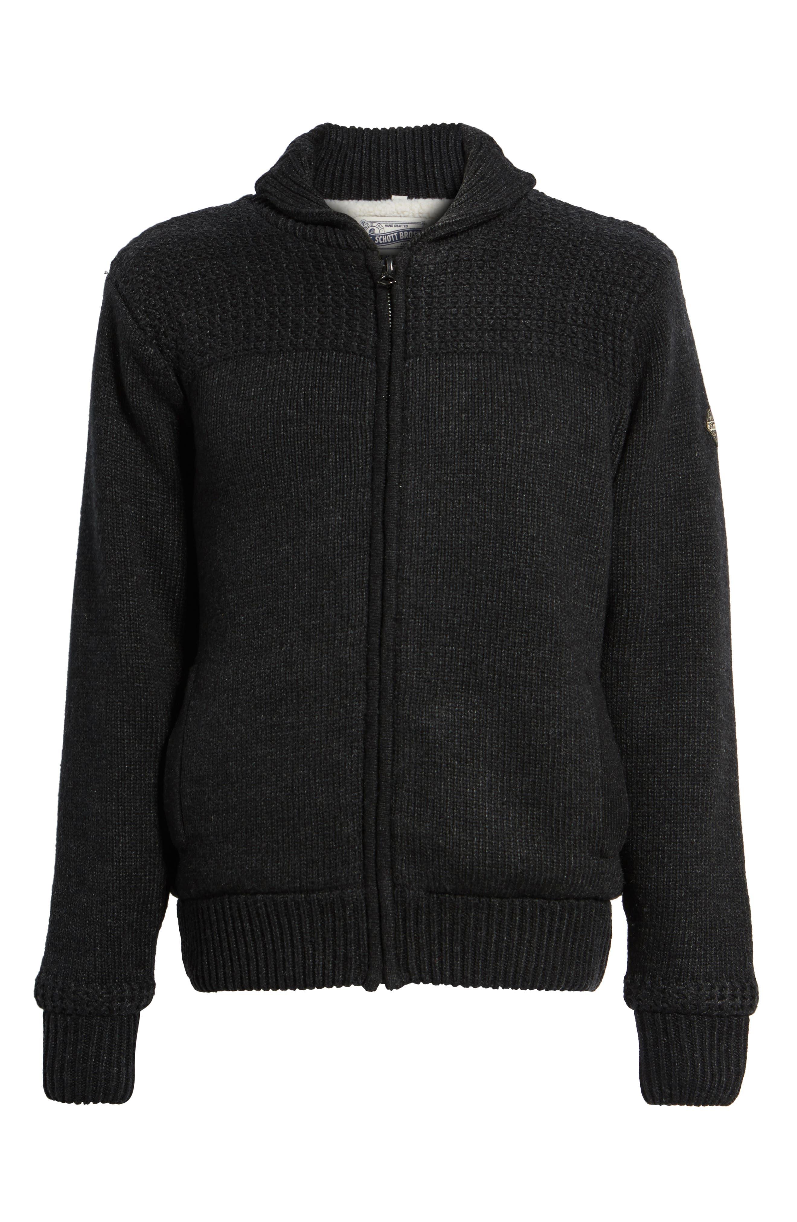 SCHOTT NYC,                             Lined Wool Zip Sweater,                             Alternate thumbnail 6, color,                             BLACK