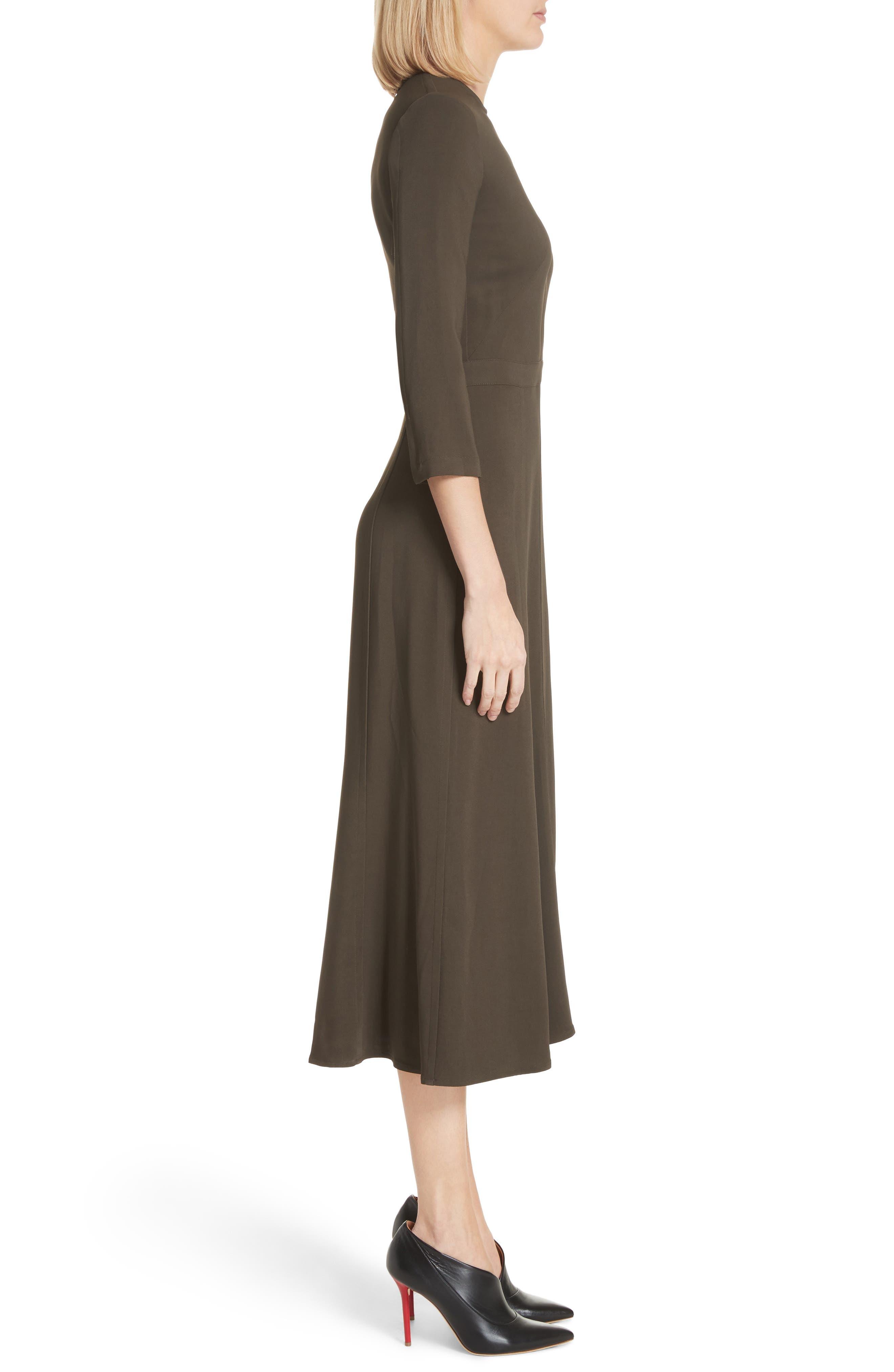 Paneled Cady Midi Dress,                             Alternate thumbnail 3, color,                             KHAKI GREEN