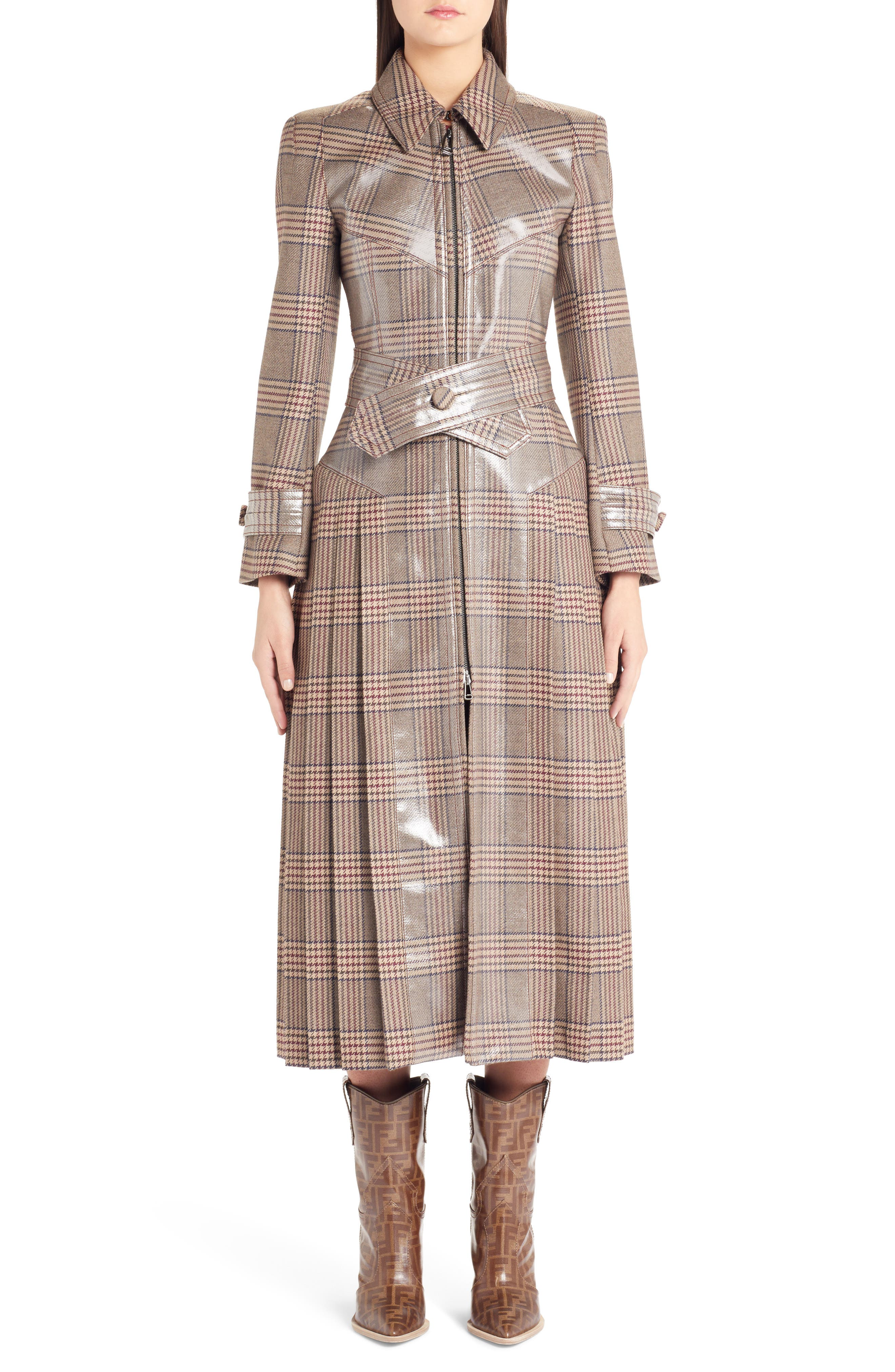 Checked Glazed Wool Trench Coat,                             Main thumbnail 1, color,                             024