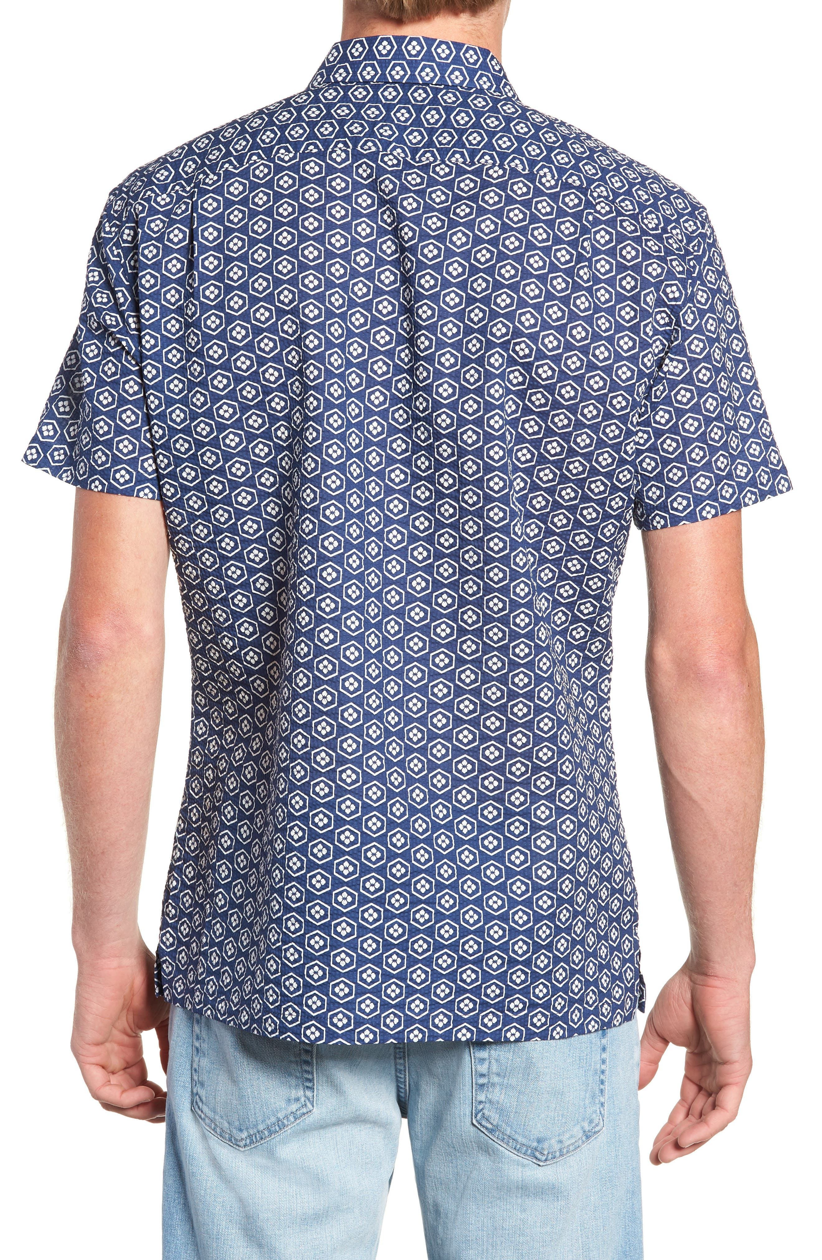Regular Fit Print Sport Shirt,                             Alternate thumbnail 3, color,                             NAVY