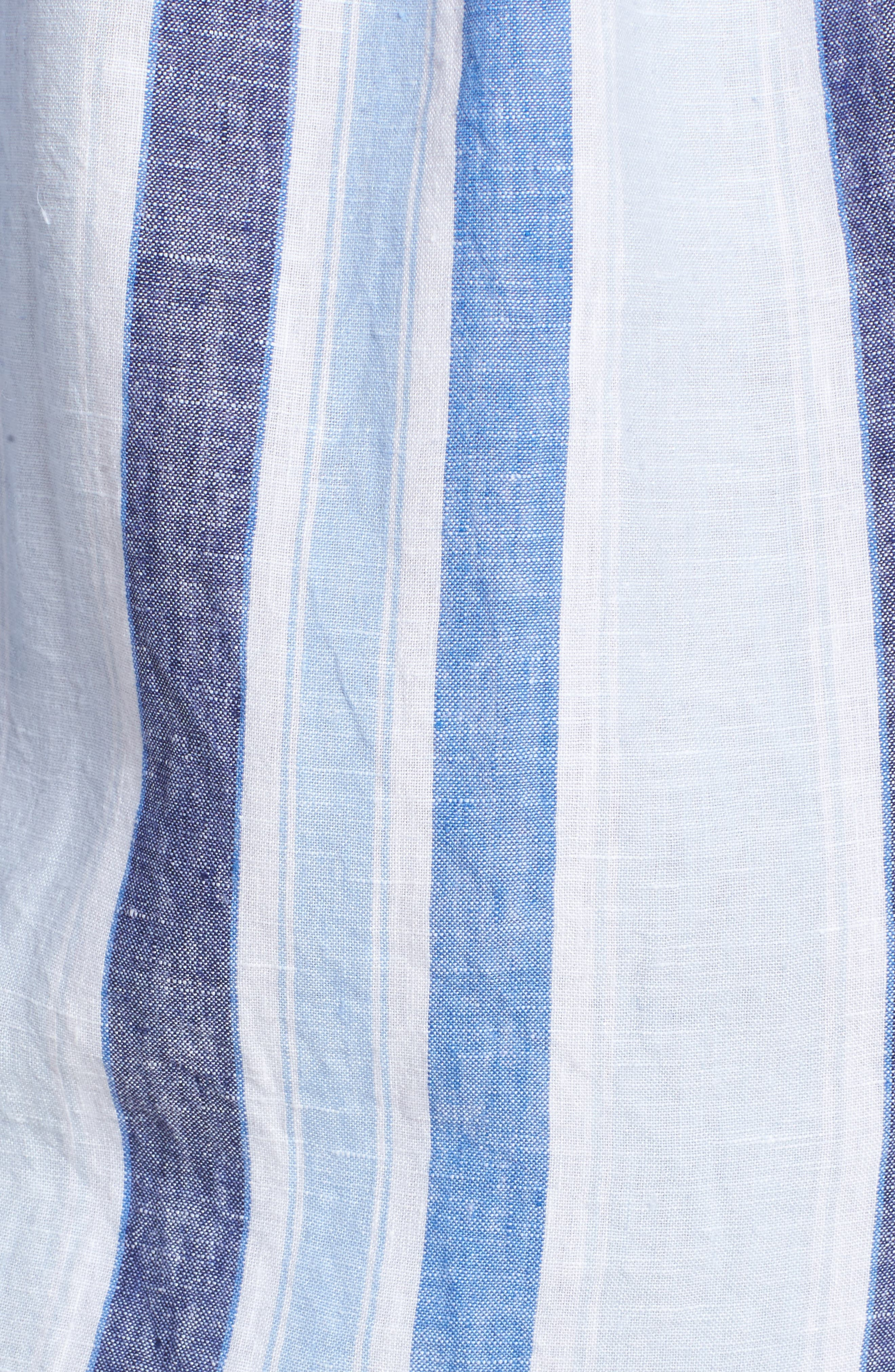 Glenavy Stripe Linen Sport Shirt,                             Alternate thumbnail 5, color,                             432
