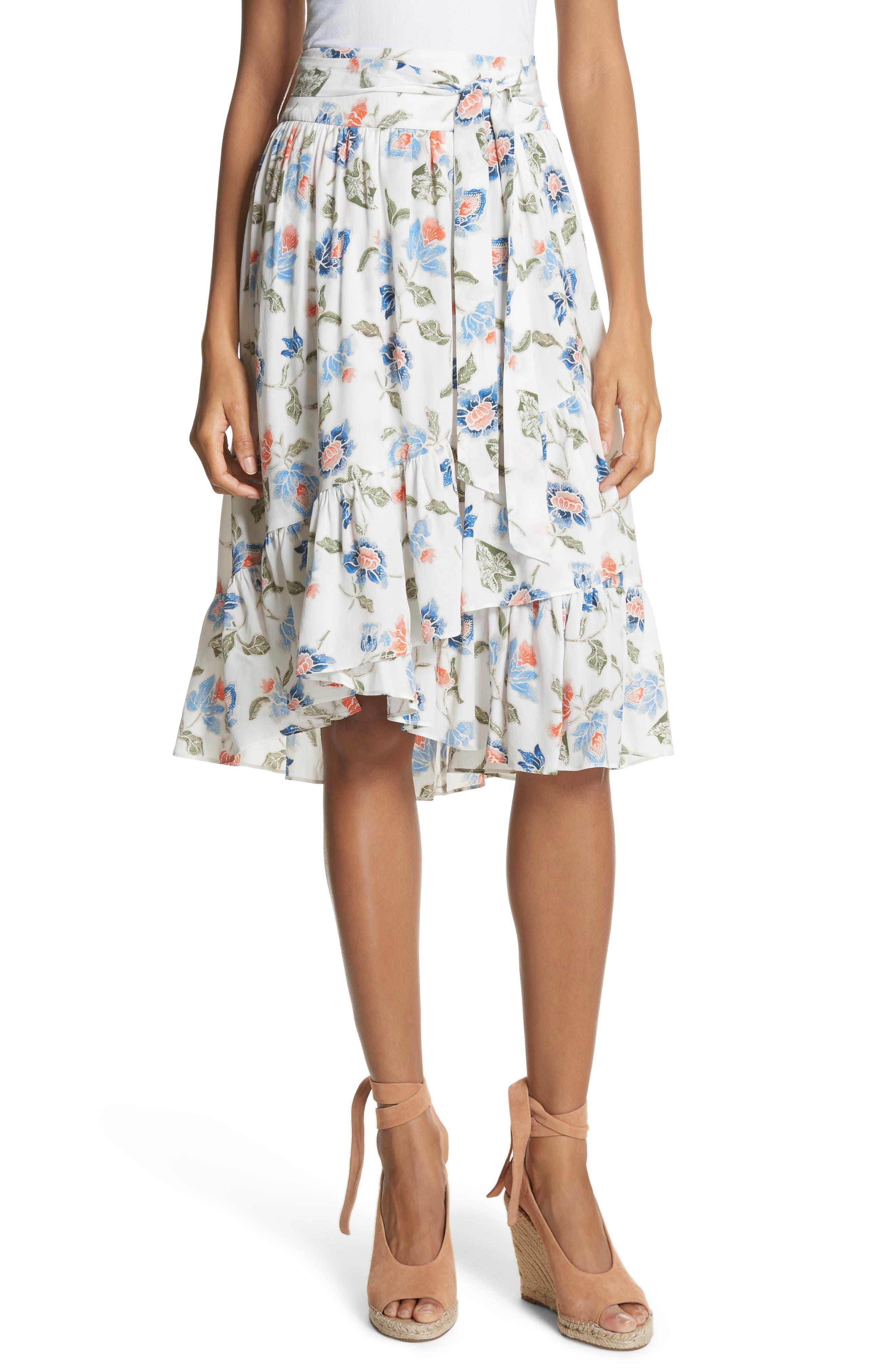 Denisha Floral Ruffle Silk Skirt,                         Main,                         color, 114