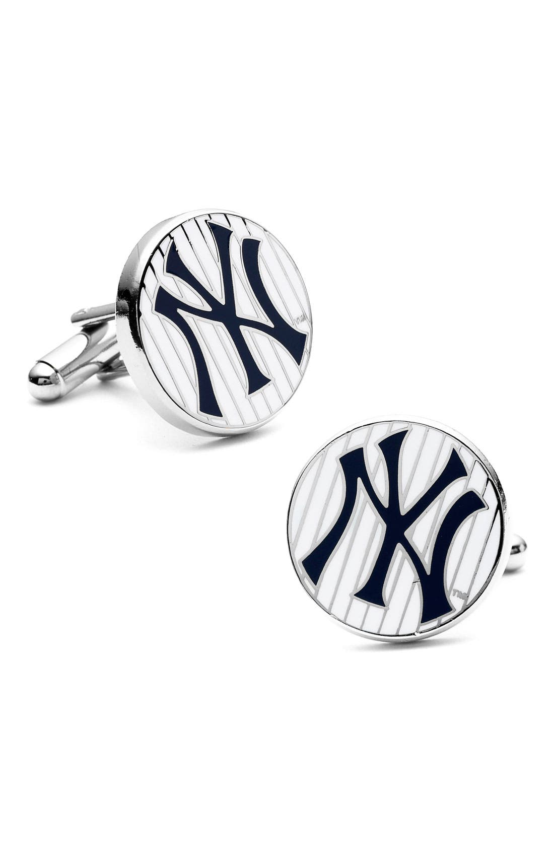 'New York Yankees' Cuff Links,                             Main thumbnail 1, color,                             WHITE/ BLUE