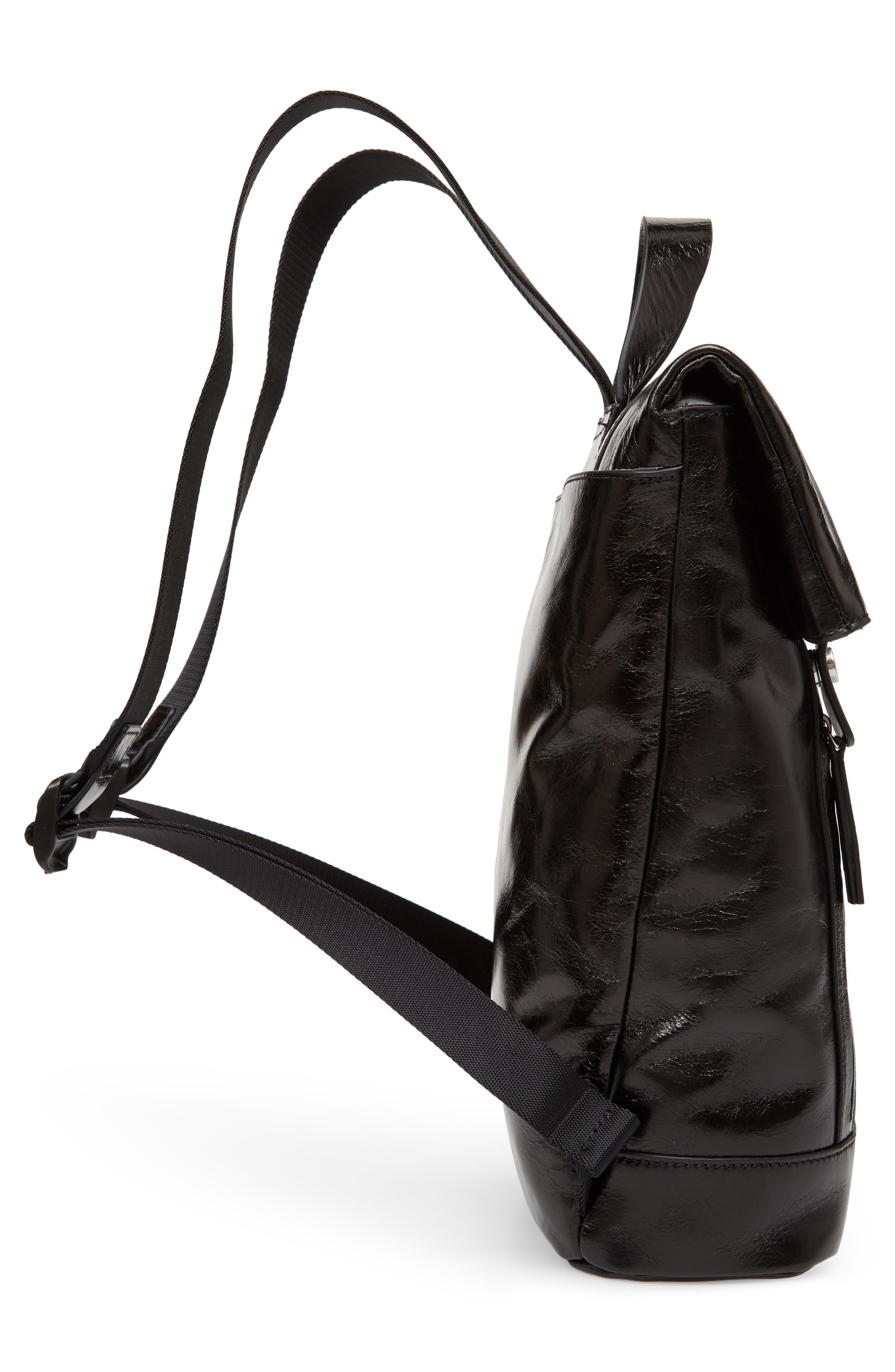 Remy Glazed Leather Backpack,                             Alternate thumbnail 5, color,                             BLACK