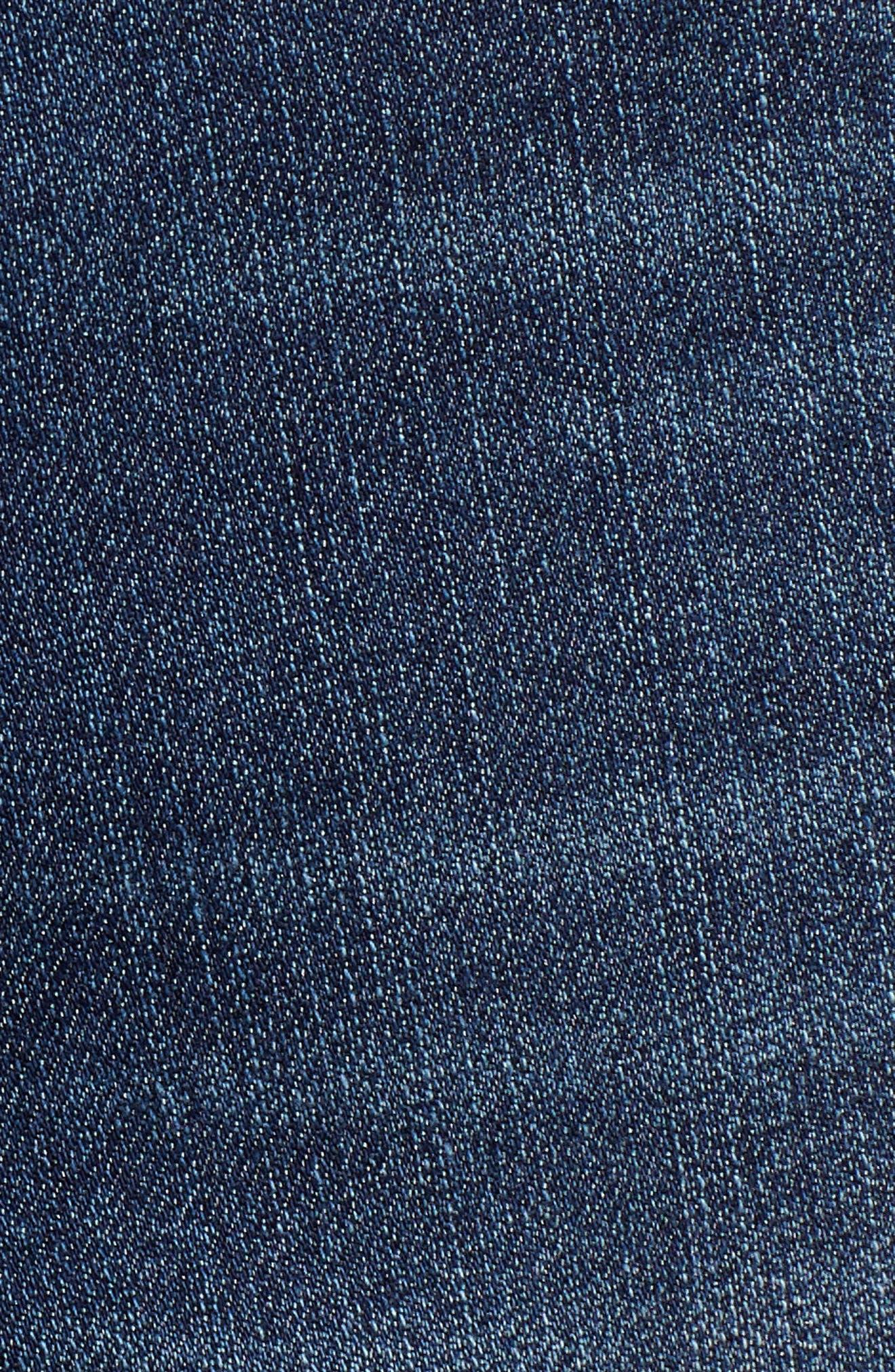 Side Slit Cutoff Denim Shorts,                             Alternate thumbnail 6, color,                             400