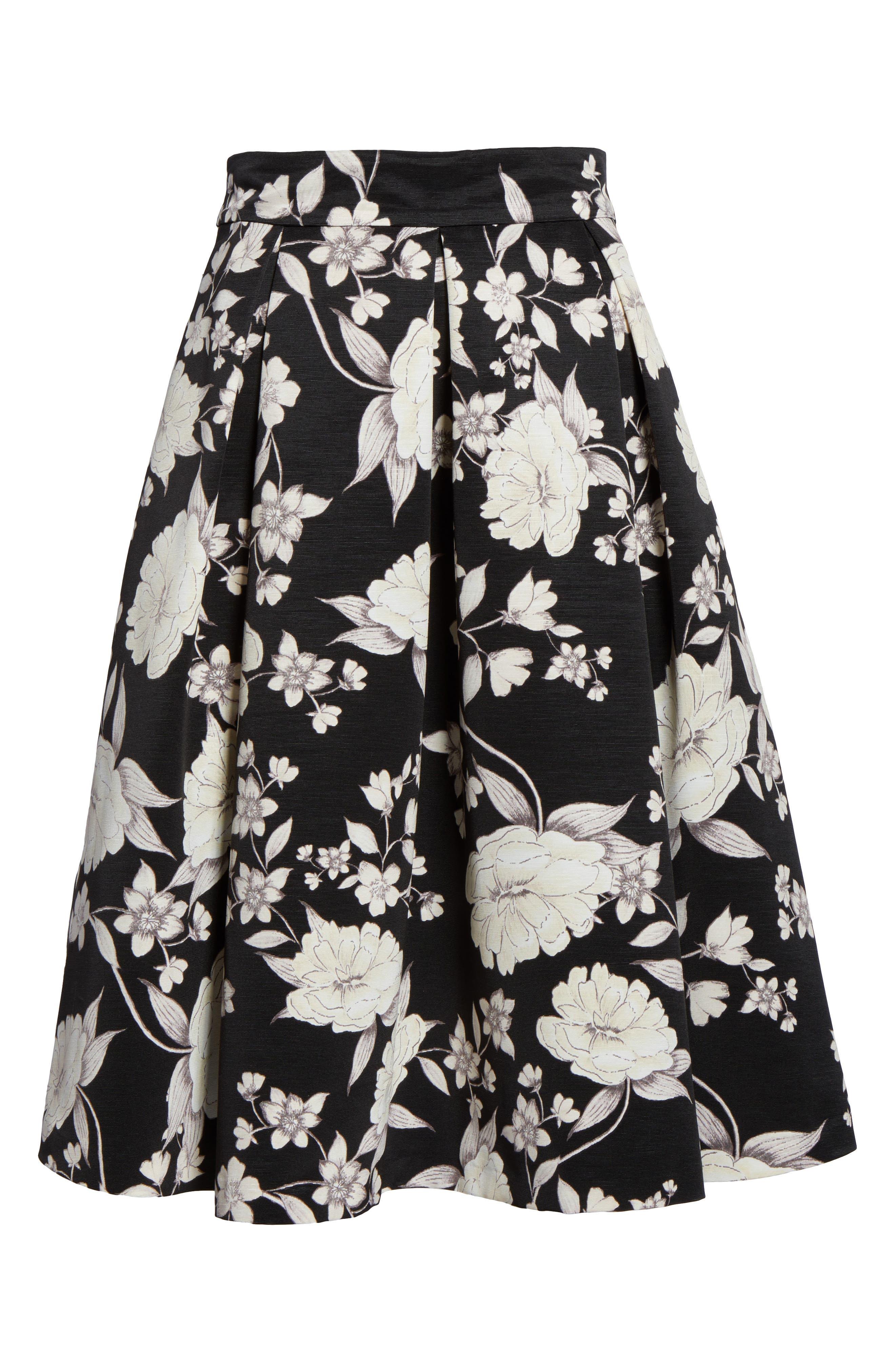 Floral Print Midi Skirt,                             Alternate thumbnail 6, color,                             003