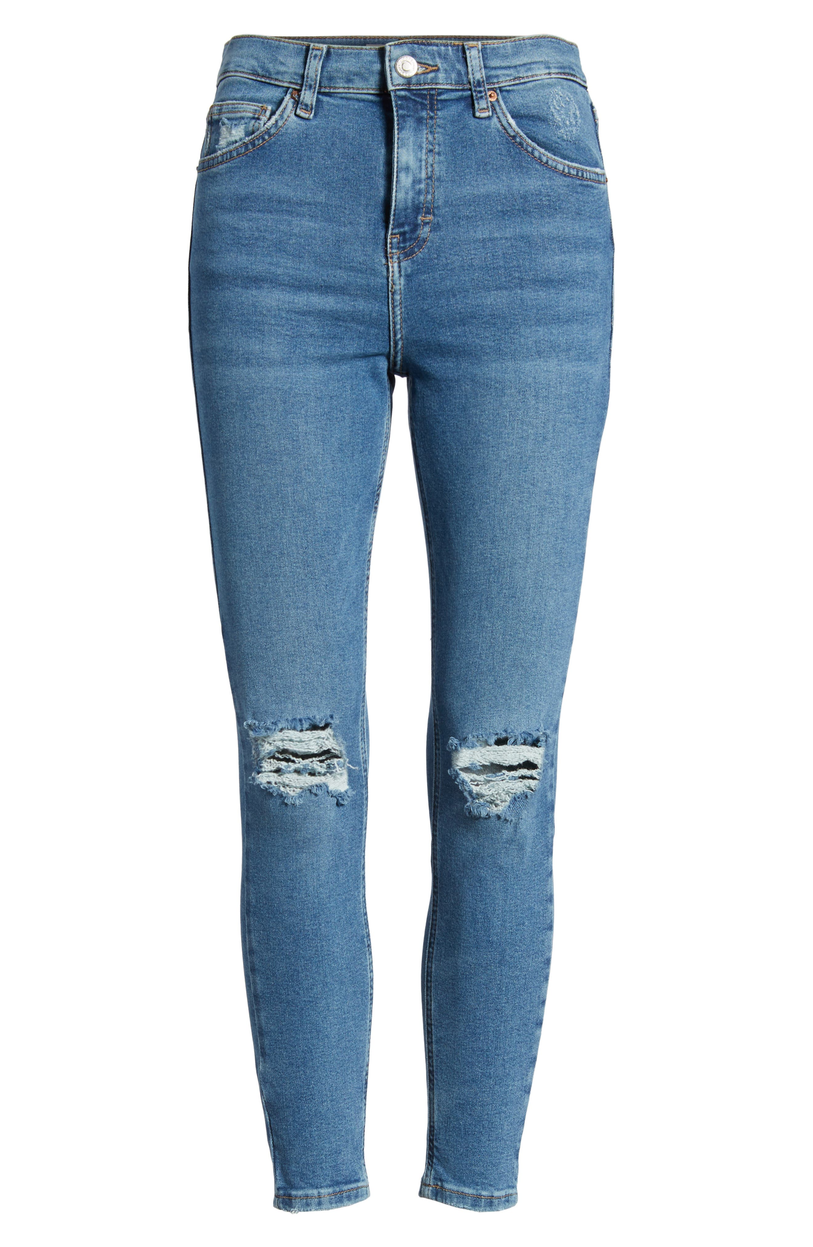 TOPSHOP,                             Jamie Ripped Jeans,                             Alternate thumbnail 7, color,                             MID DENIM