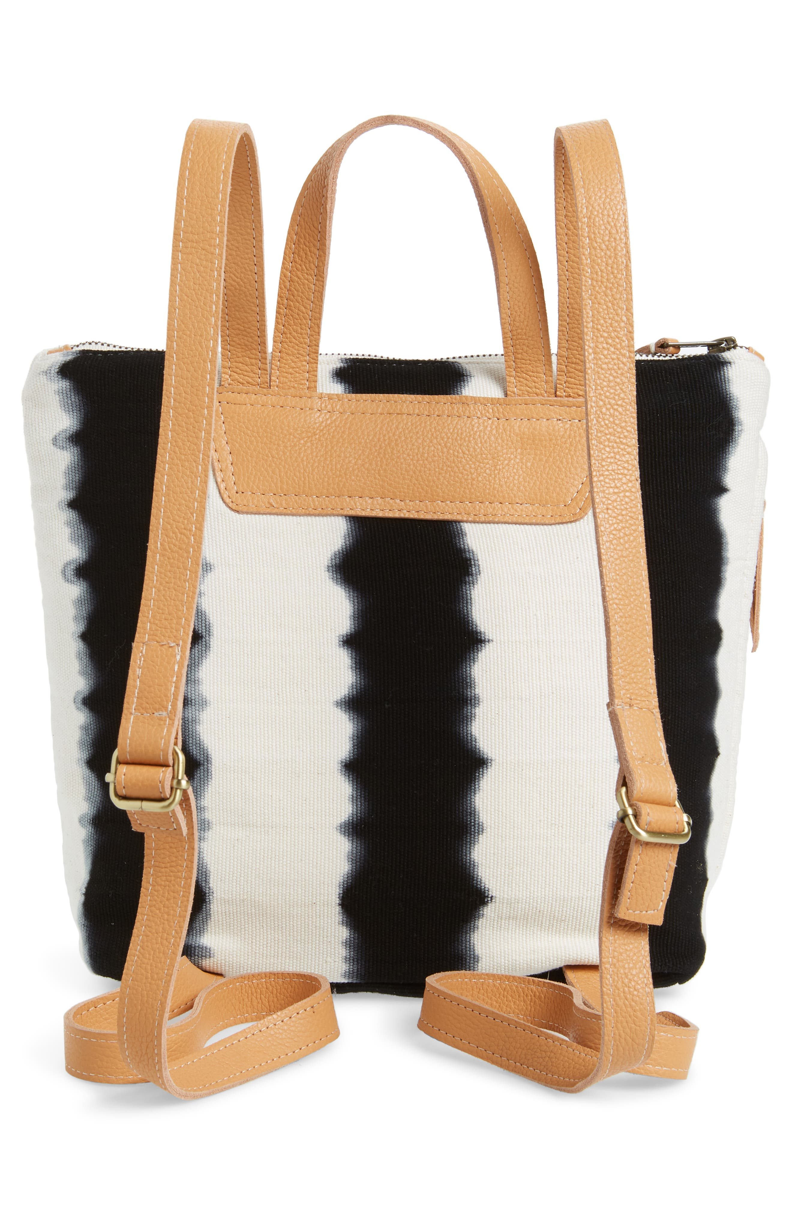 MERCADO GLOBAL,                             Mini Lorena Woven Backpack,                             Alternate thumbnail 3, color,                             BLACK HAND DYE