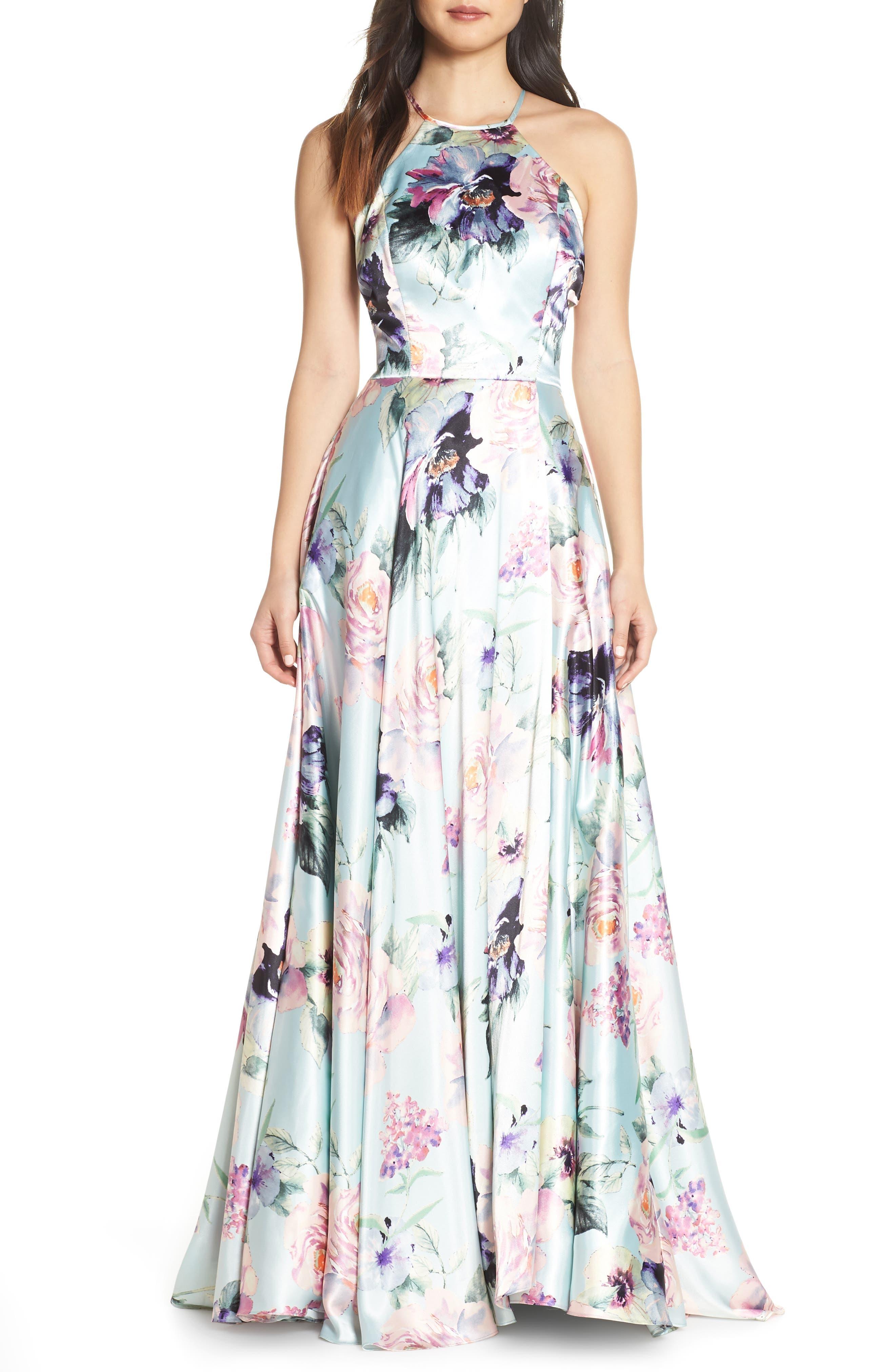 BLONDIE NITES,                             Floral Print Charmeuse Evening Dress,                             Main thumbnail 1, color,                             MINT/ MULTI