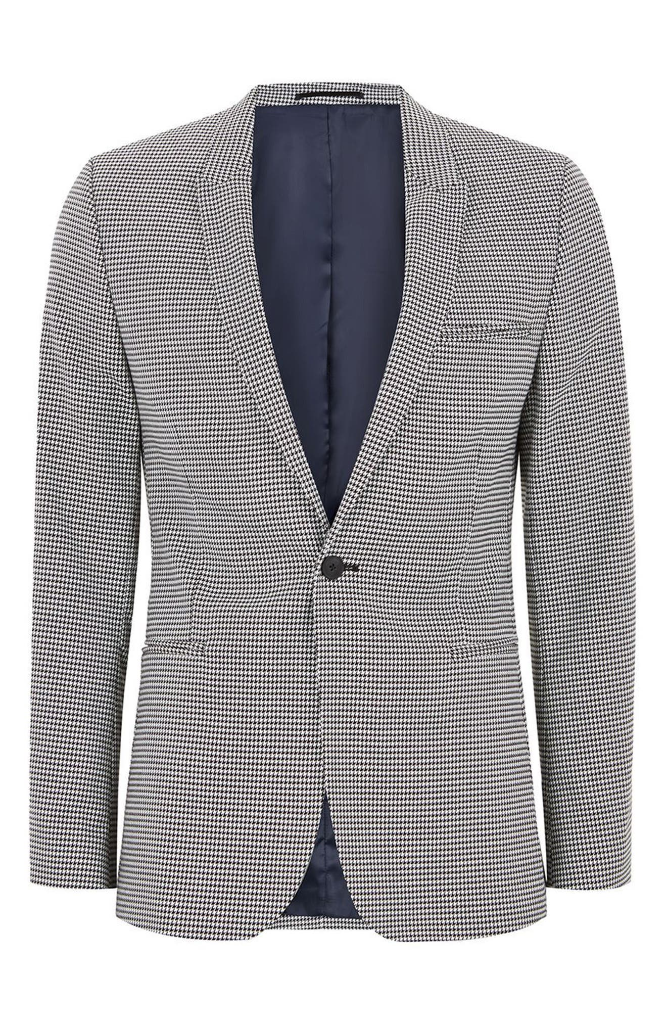 Ultra Skinny Fit Houndstooth Suit Jacket,                             Alternate thumbnail 4, color,                             020