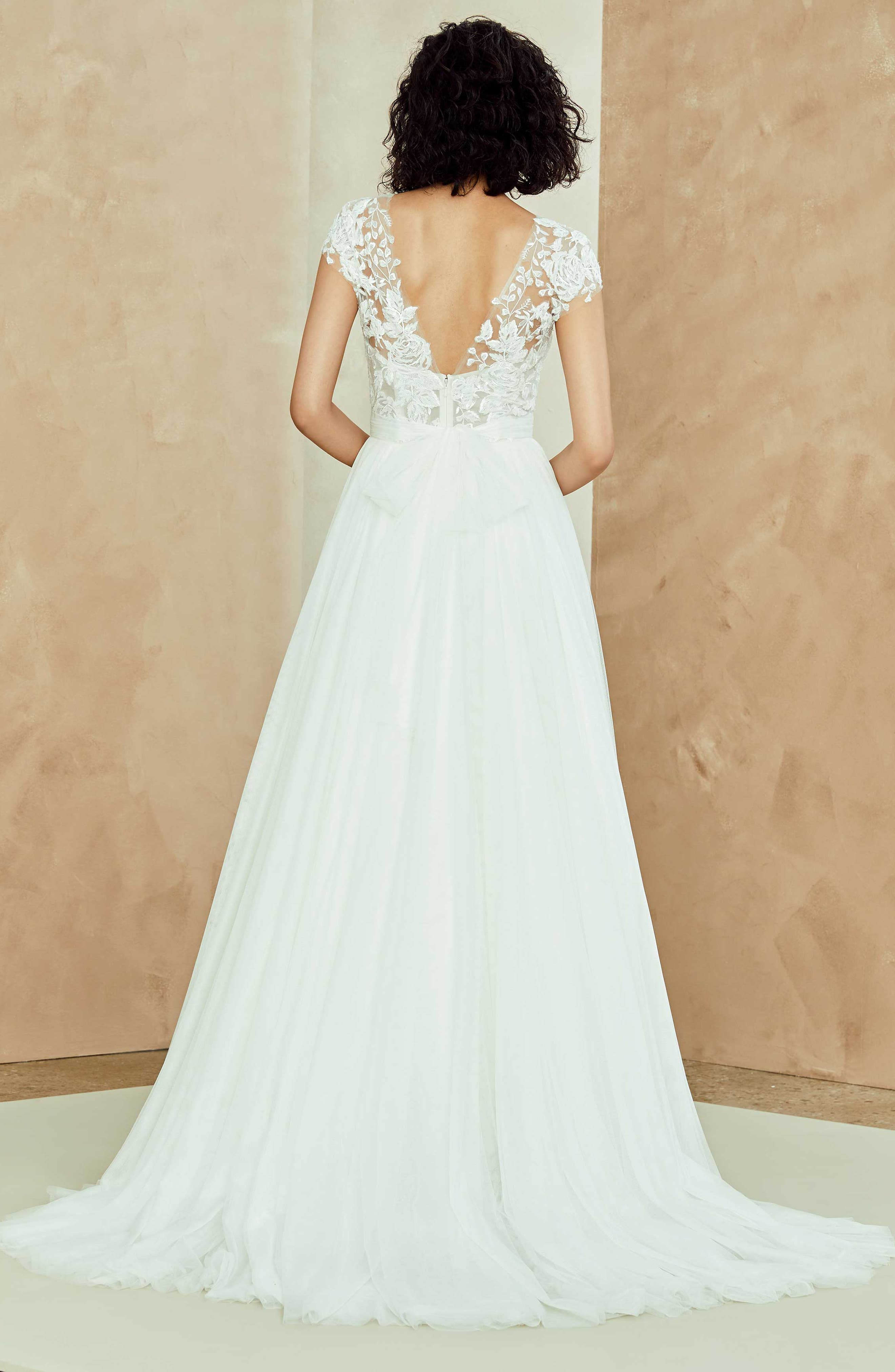 Danielle Embroidered Tulle A-Line Gown,                             Alternate thumbnail 2, color,                             IVORY