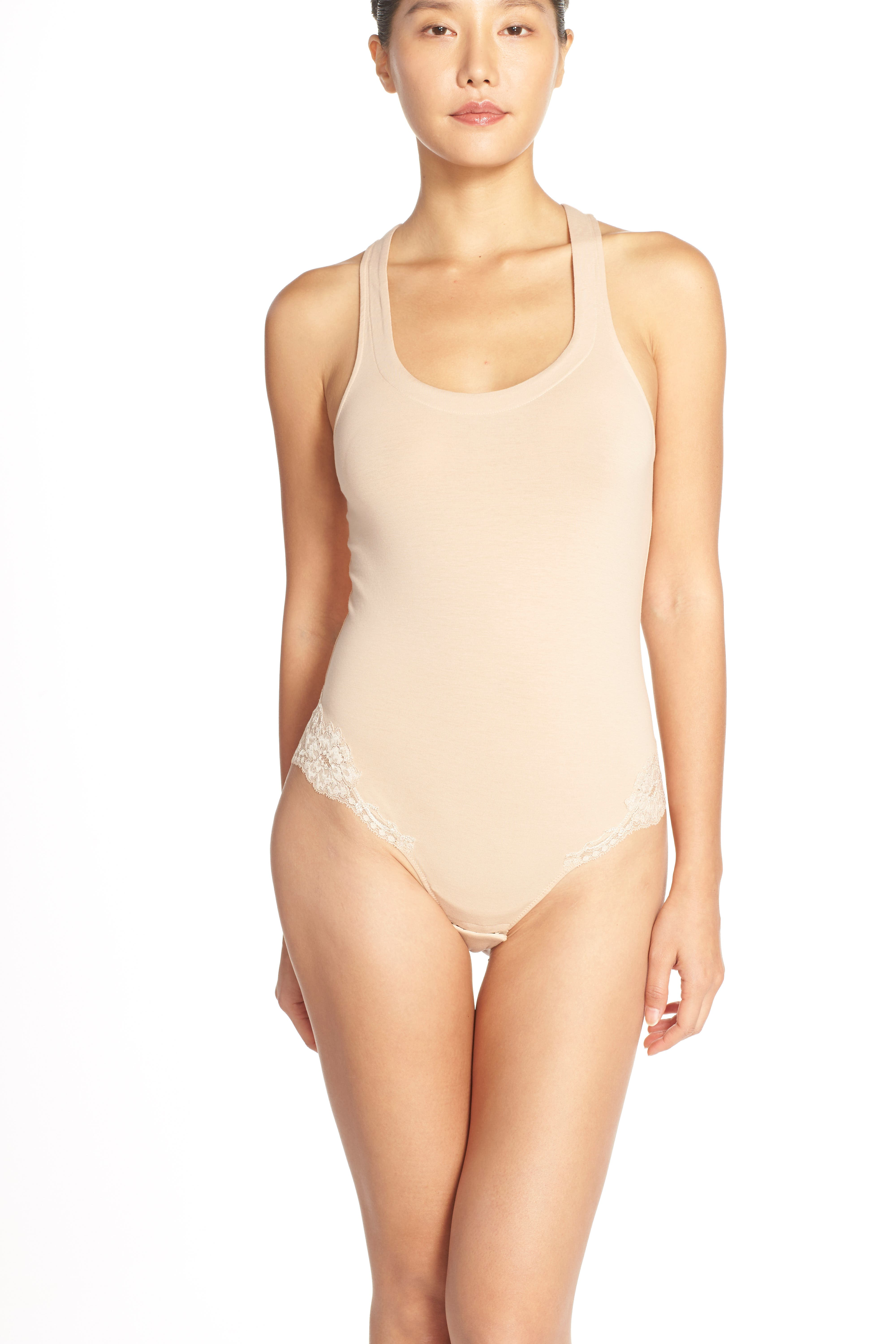 'Spalla Larga' Racerback Bodysuit,                             Alternate thumbnail 4, color,