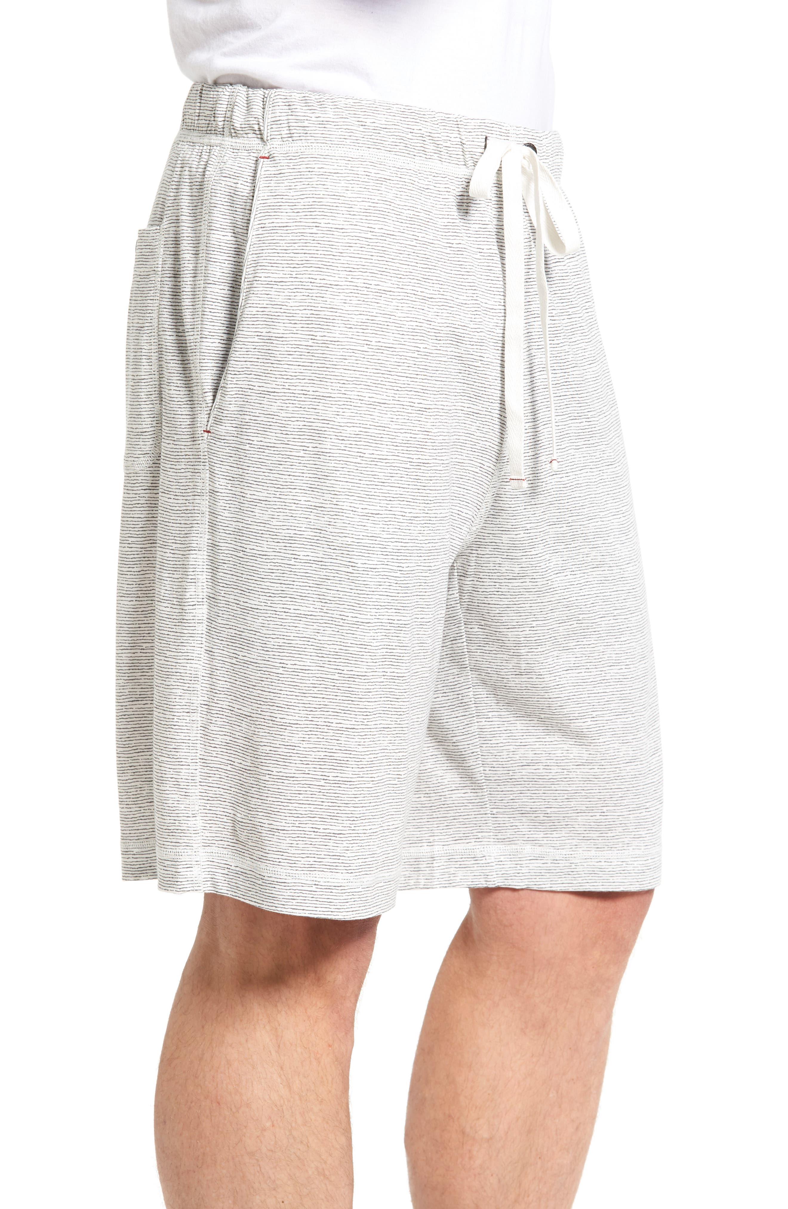 Feeder Stripe Pima Cotton & Modal Lounge Shorts,                             Alternate thumbnail 3, color,                             020