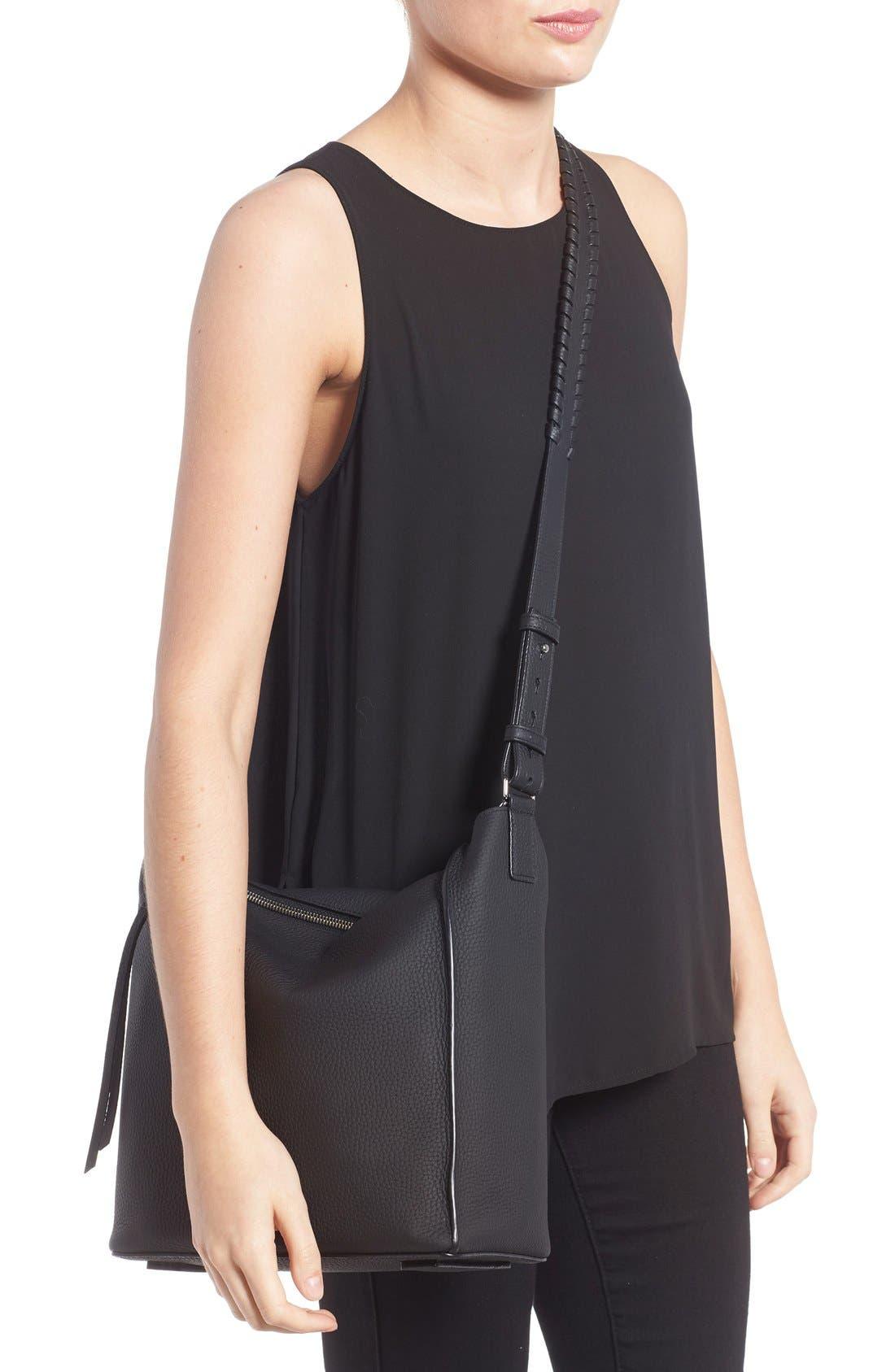 'Kita' Leather Shoulder/Crossbody Bag,                             Alternate thumbnail 2, color,                             BLACK