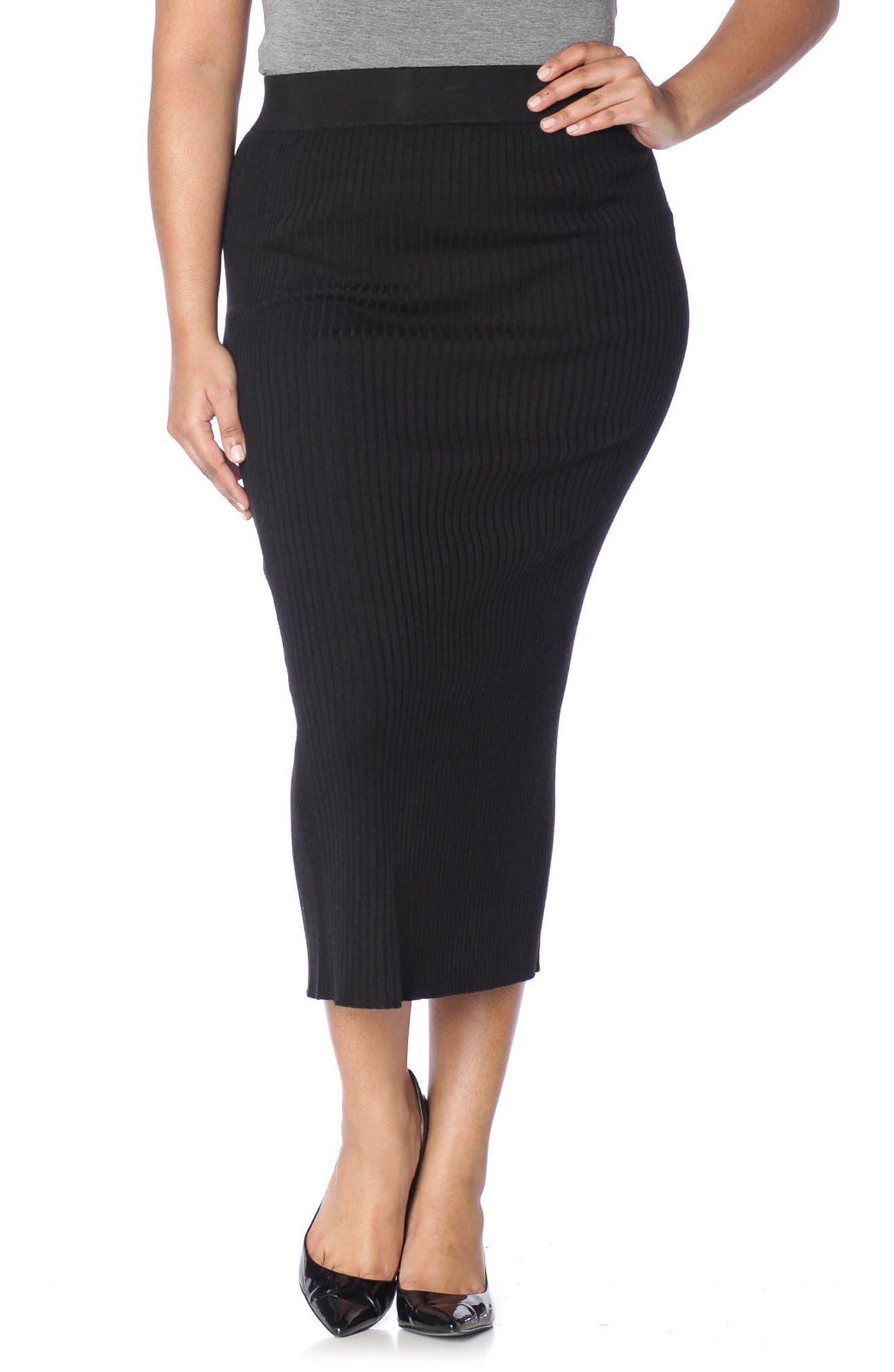 Midi Tube Skirt,                         Main,                         color, BLACK
