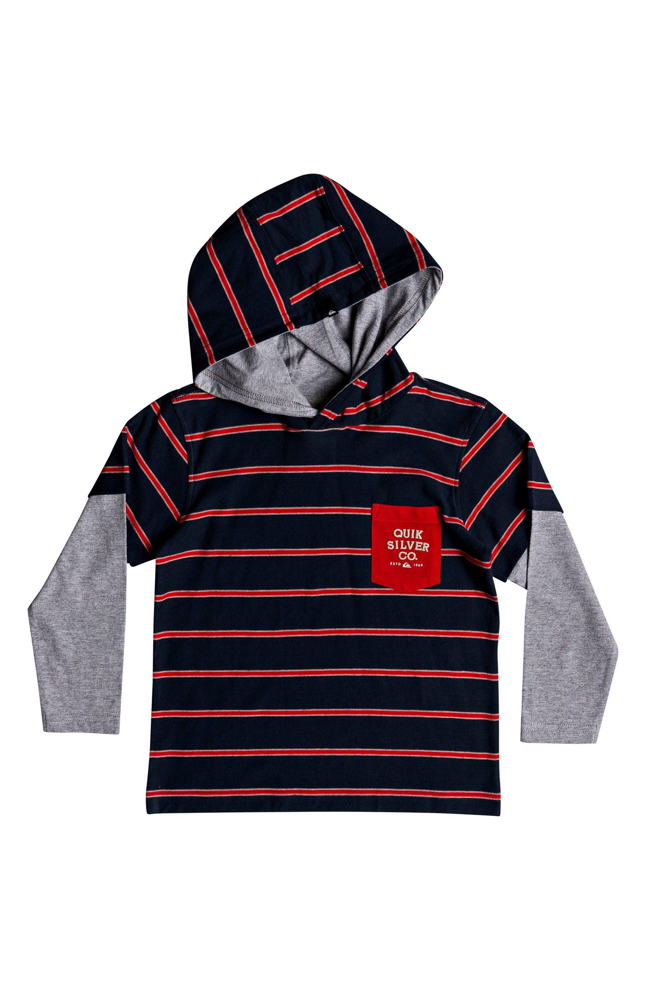 Gerik Stripe Layered Hoodie,                         Main,                         color, FLAME