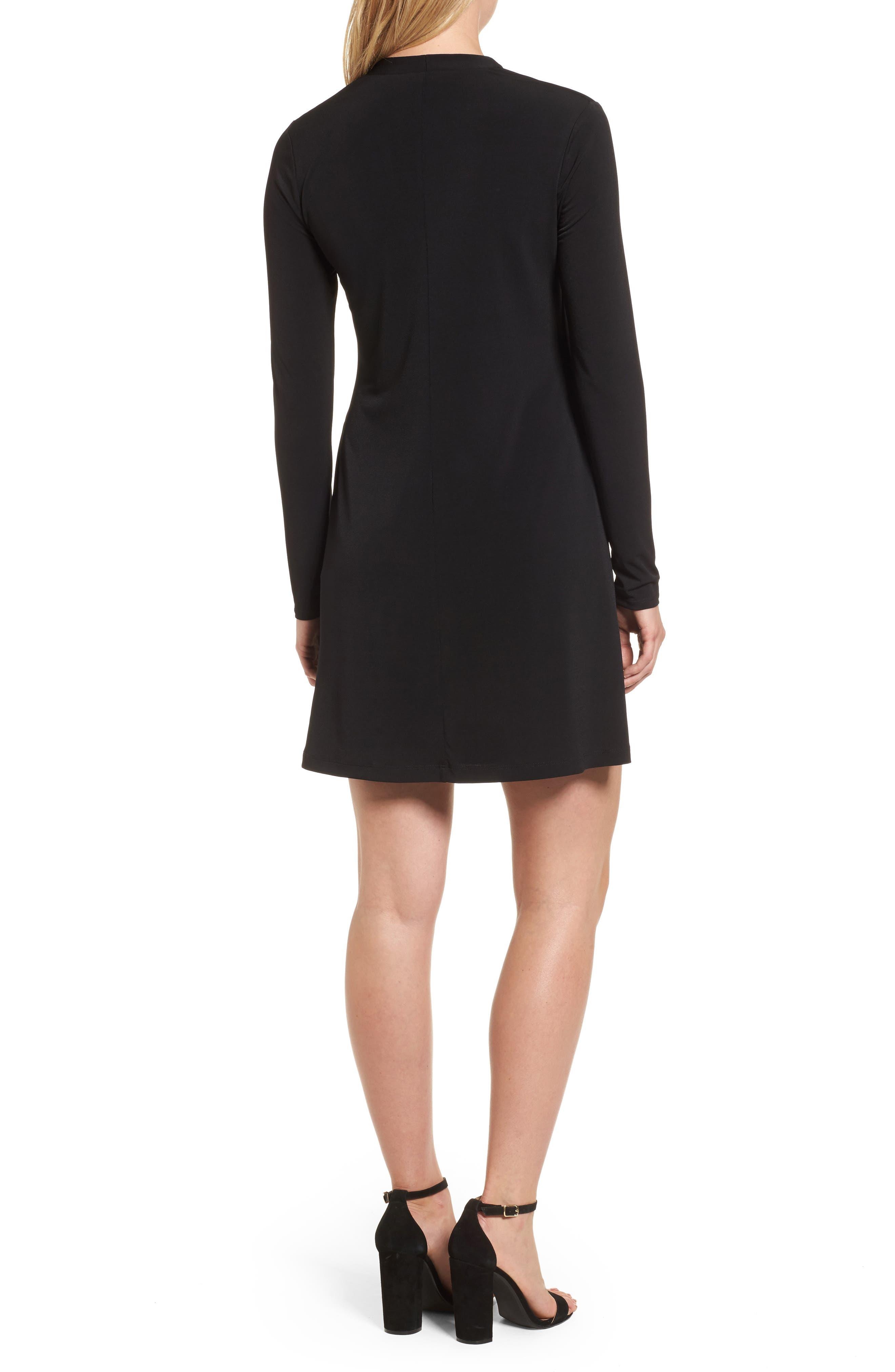 V-Neck A-Line Dress,                             Alternate thumbnail 2, color,                             001