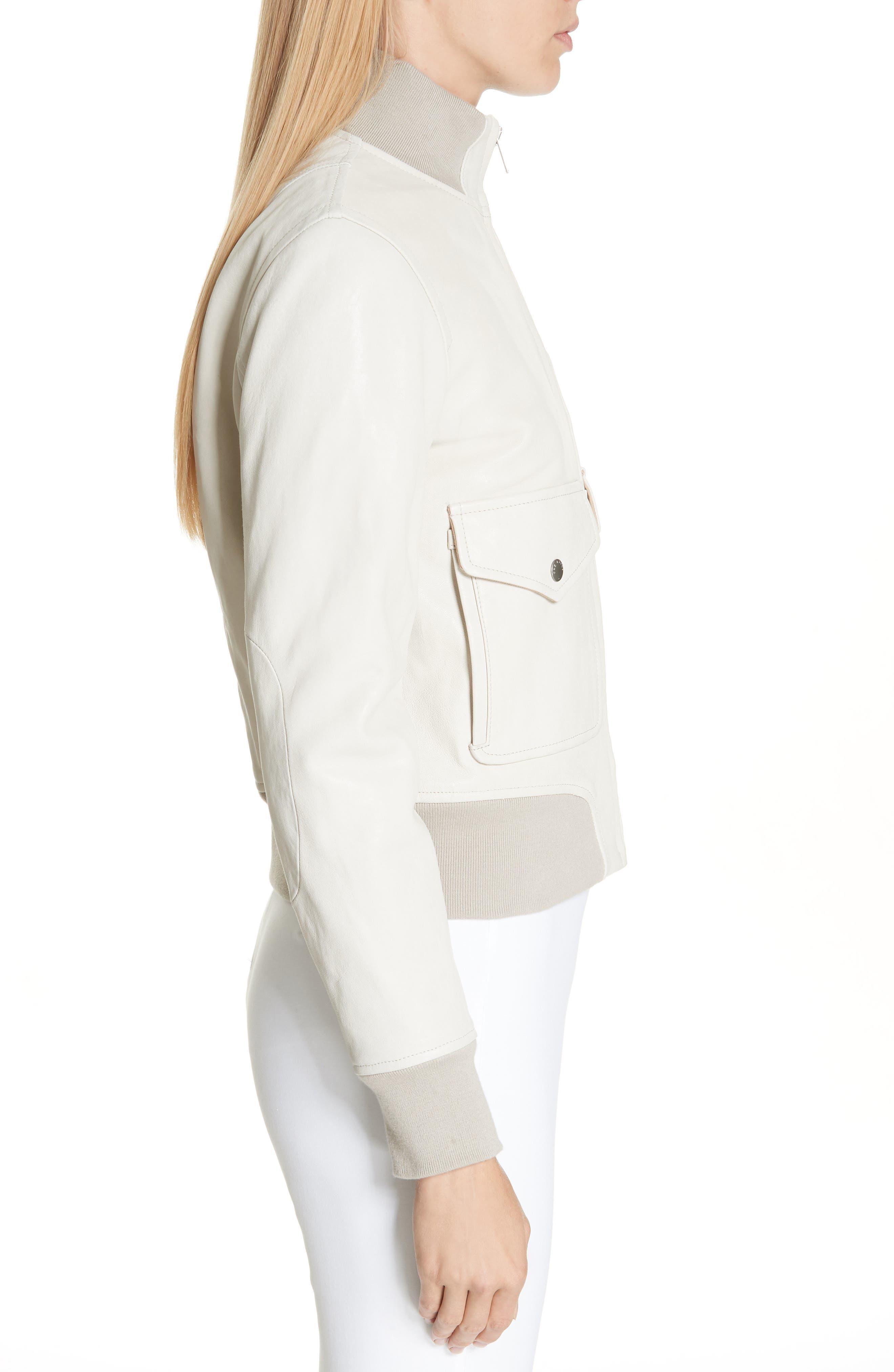 Mila Lambskin Leather Jacket,                             Alternate thumbnail 3, color,                             IVORY