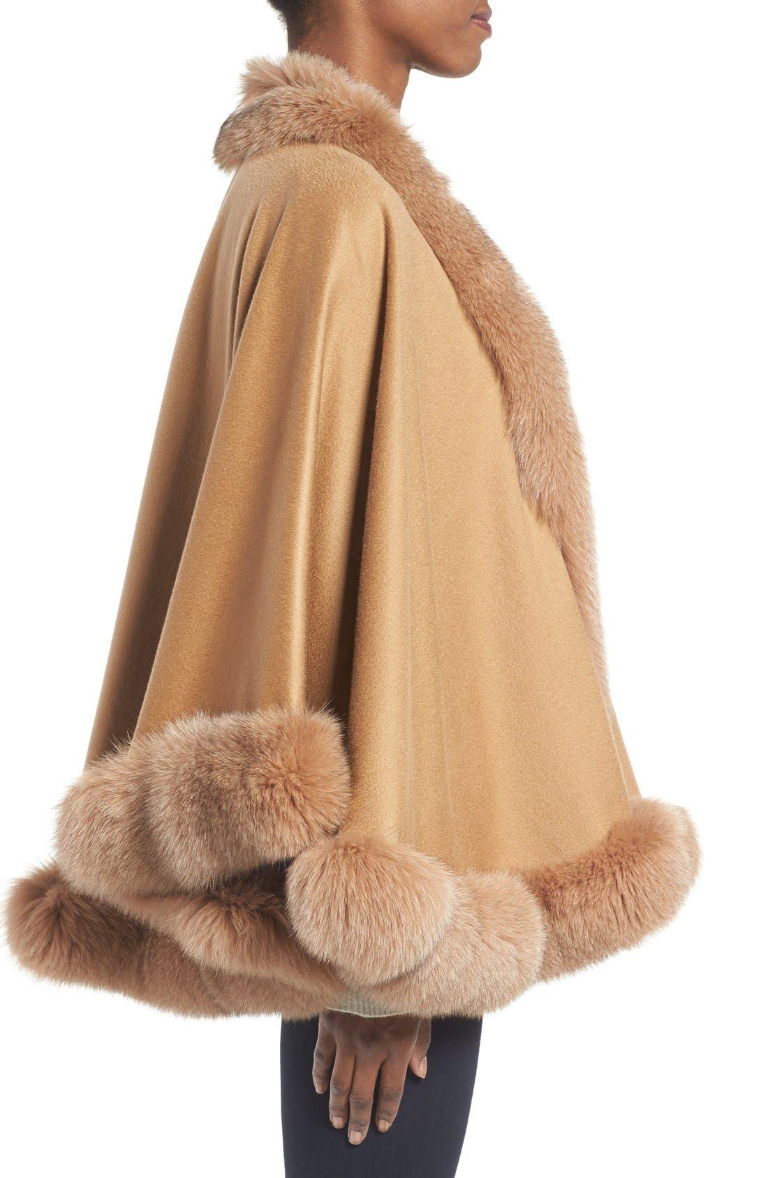 Genuine Fox Fur Trim Short Cashmere Cape,                             Alternate thumbnail 14, color,