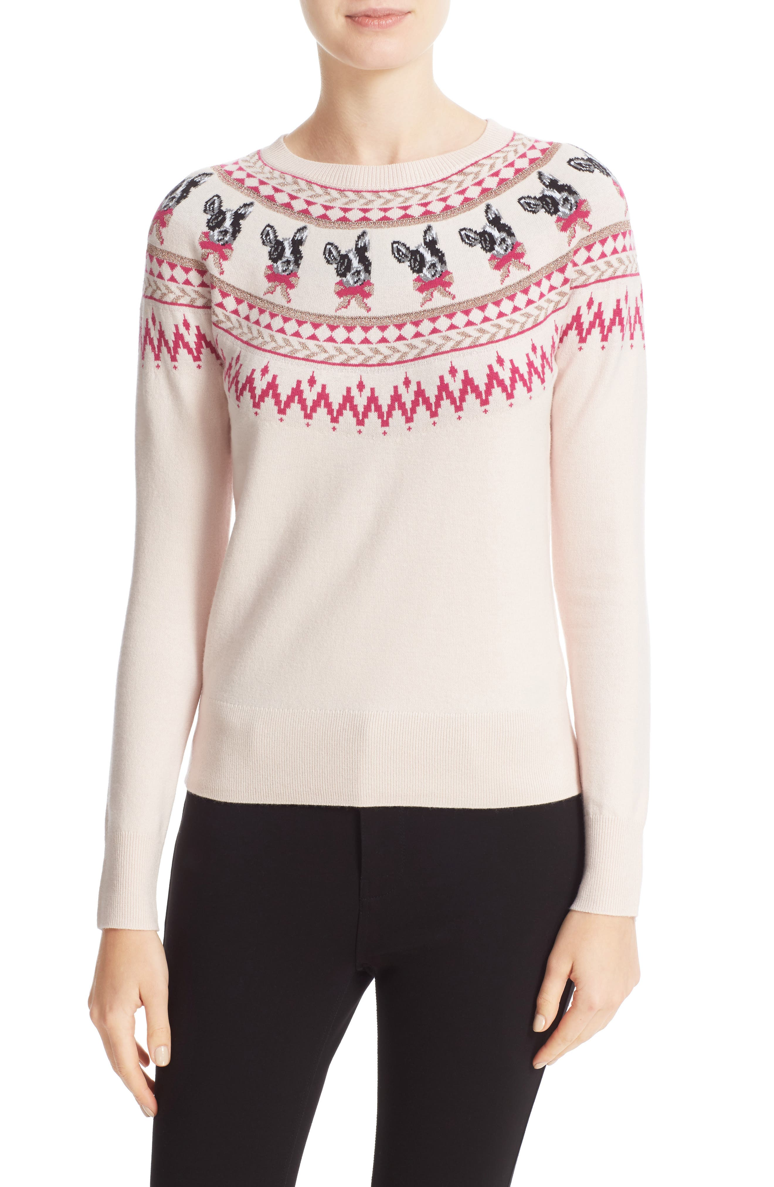 TED BAKER LONDON Merry Woofmas Fair Isle Pullover, Main, color, 272