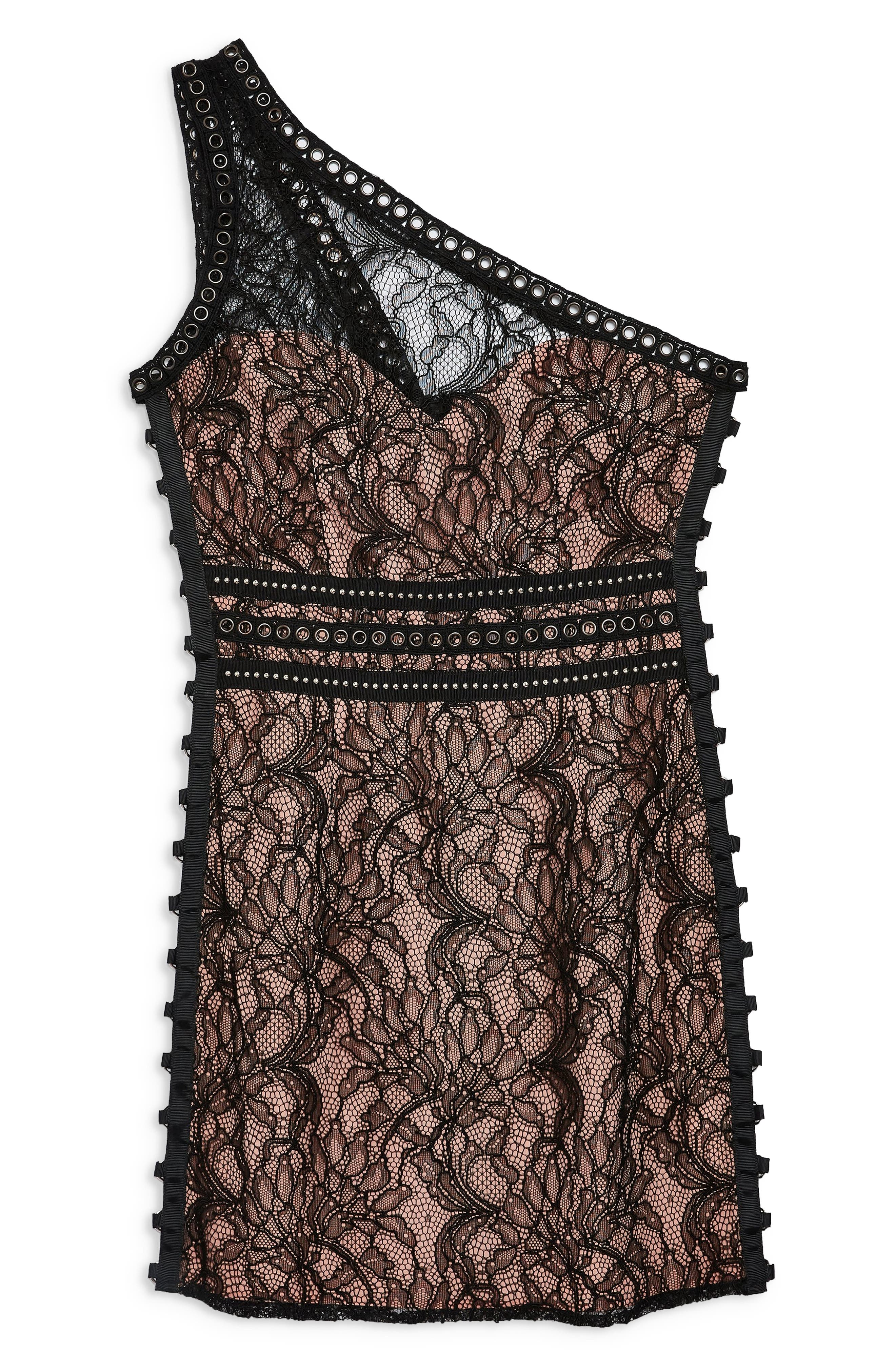 One-Shoulder Lace Body-Con Dress,                             Alternate thumbnail 5, color,                             BLACK MULTI