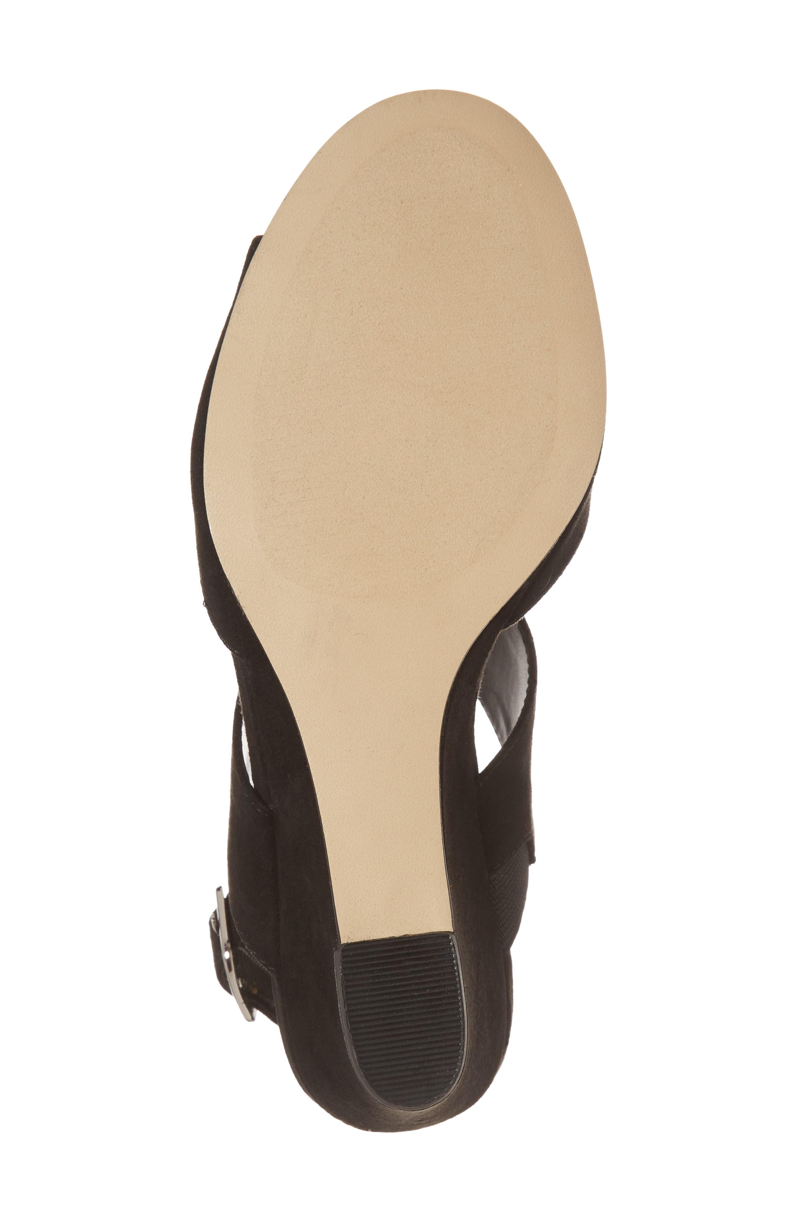 Slayte Wedge Sandal,                             Alternate thumbnail 6, color,                             BLACK FAUX SUEDE