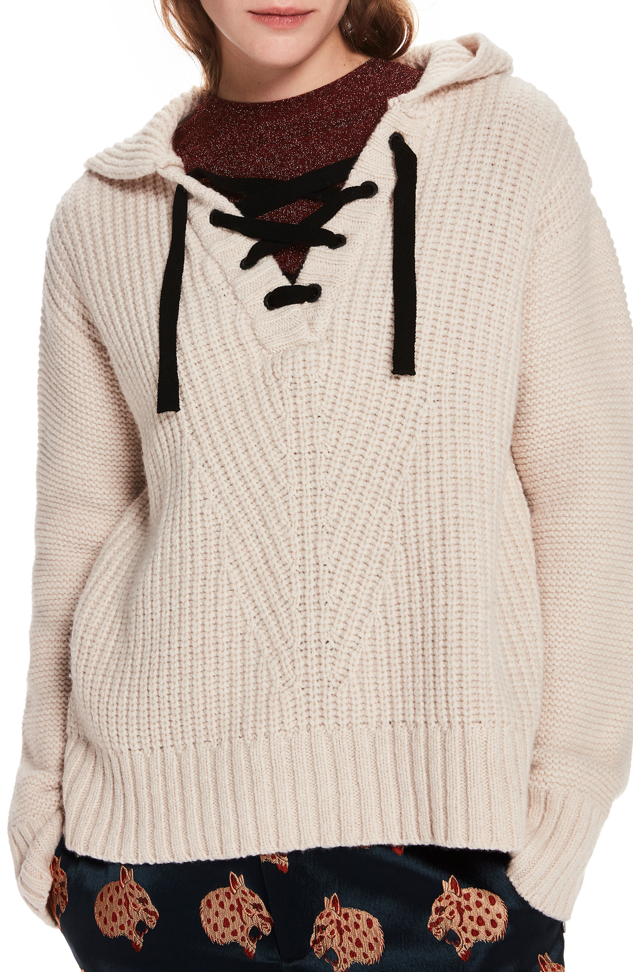 Lace-Up Knit Hooded Sweater,                             Main thumbnail 1, color,                             CREAM