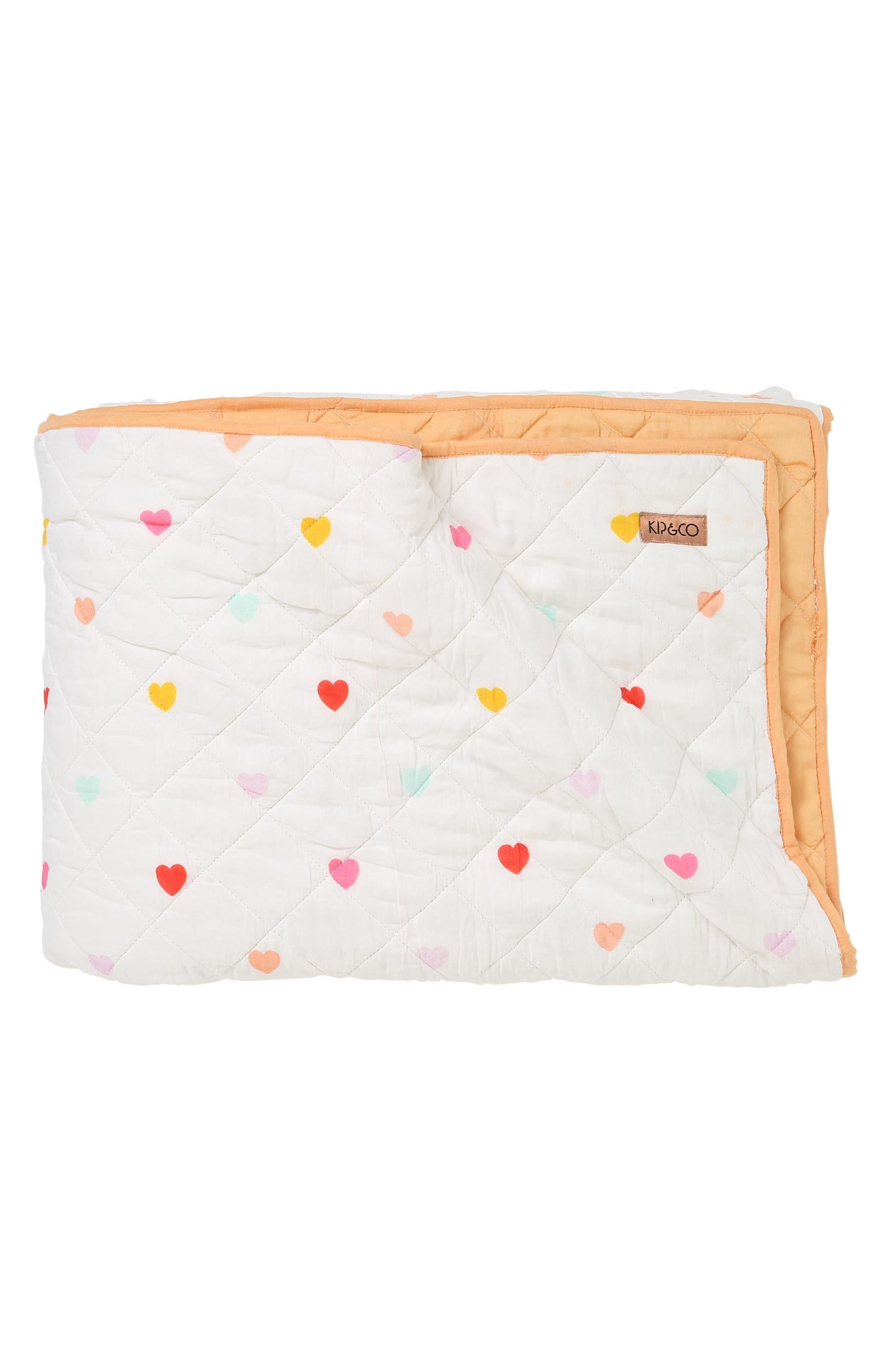 I Heart You Quilted Cotton Comforter,                             Main thumbnail 1, color,                             MULTI