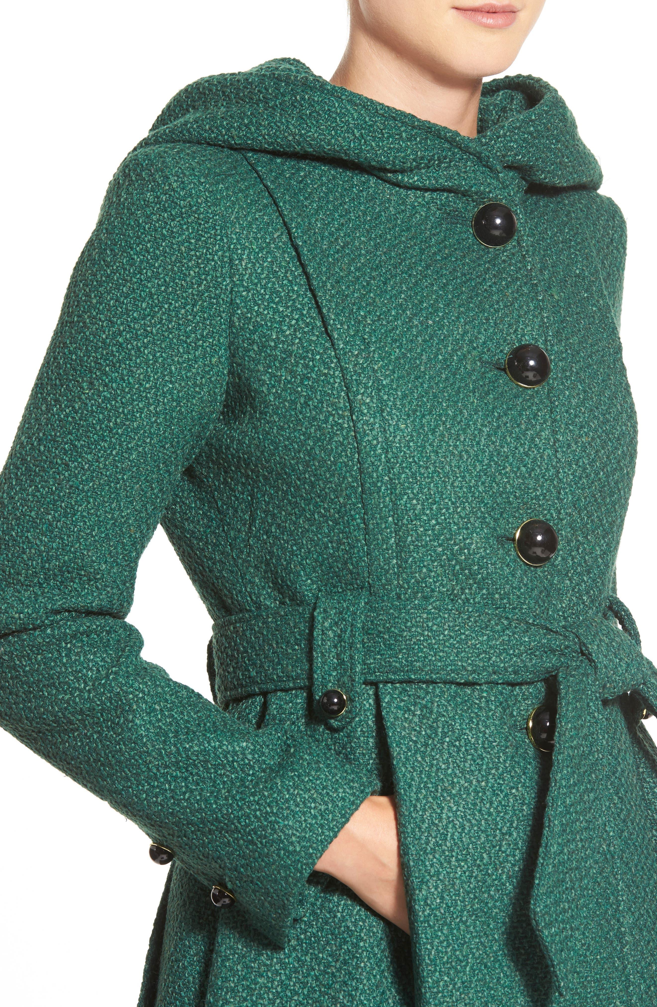 Belted Hooded Skirted Coat,                             Alternate thumbnail 23, color,