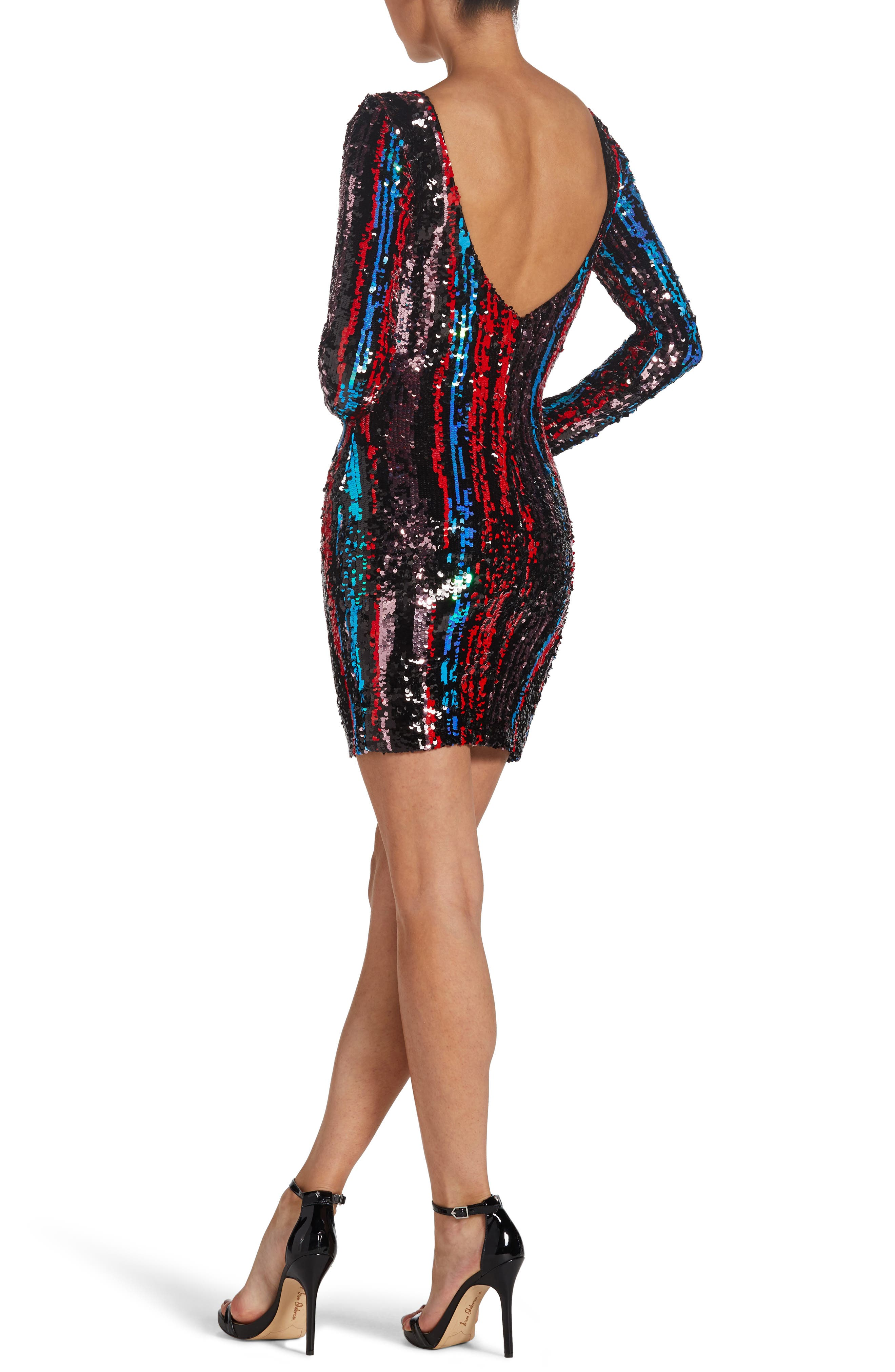 Lola Sequin Body-Con Dress,                             Alternate thumbnail 2, color,                             ROUGE RED MULTI