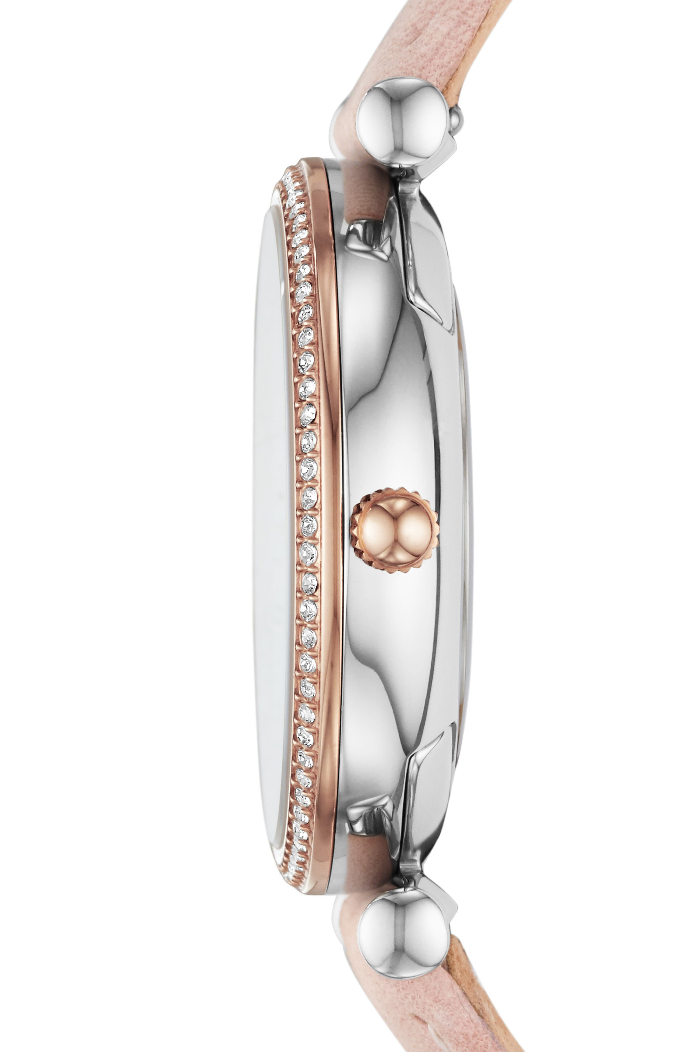 FOSSIL,                             Carlie Leather Strap Watch, 35mm,                             Alternate thumbnail 3, color,                             PINK/ SILVER/ ROSE GOLD