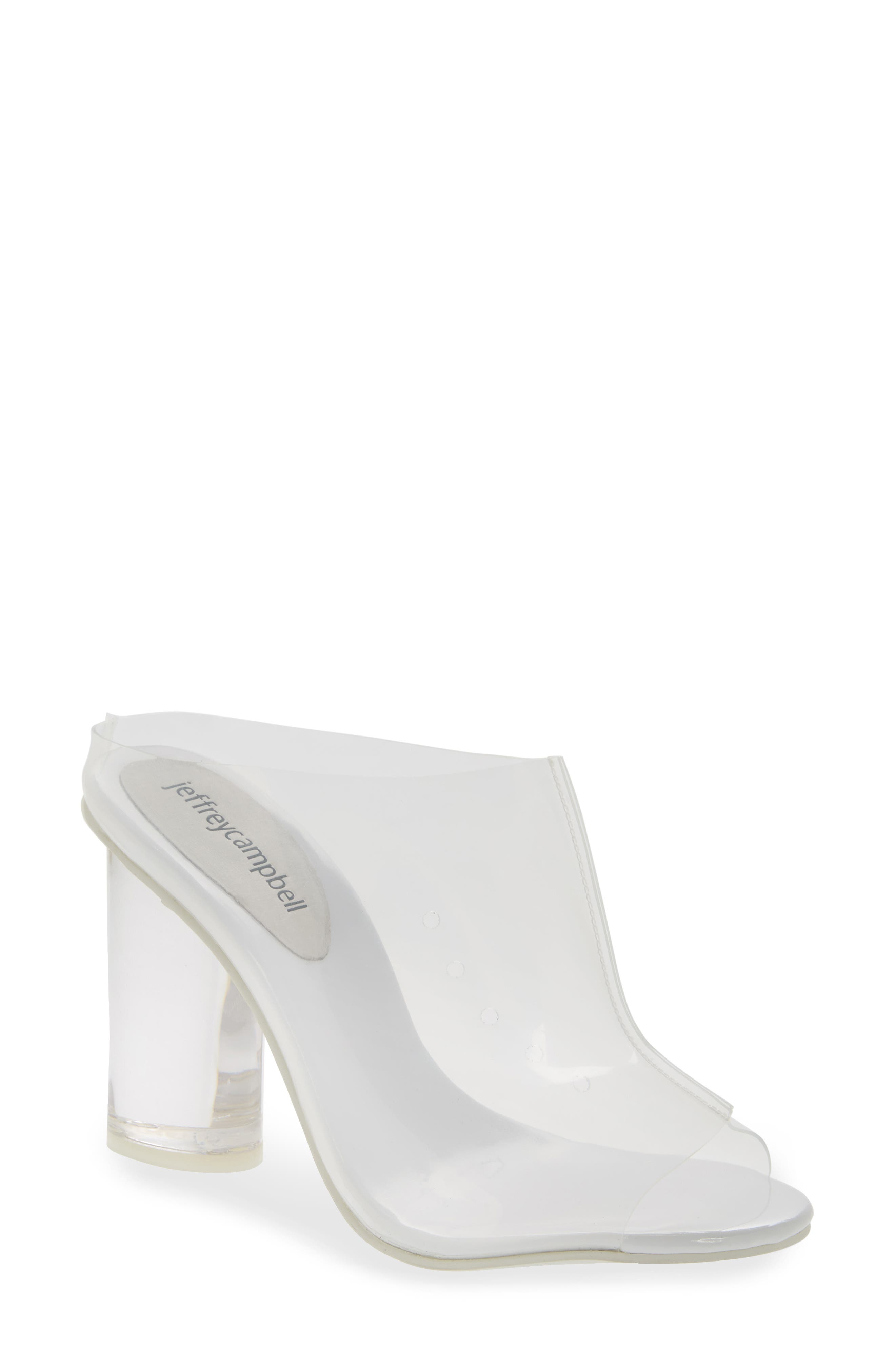 Divinity Column Heel Mule,                             Main thumbnail 1, color,                             CLEAR