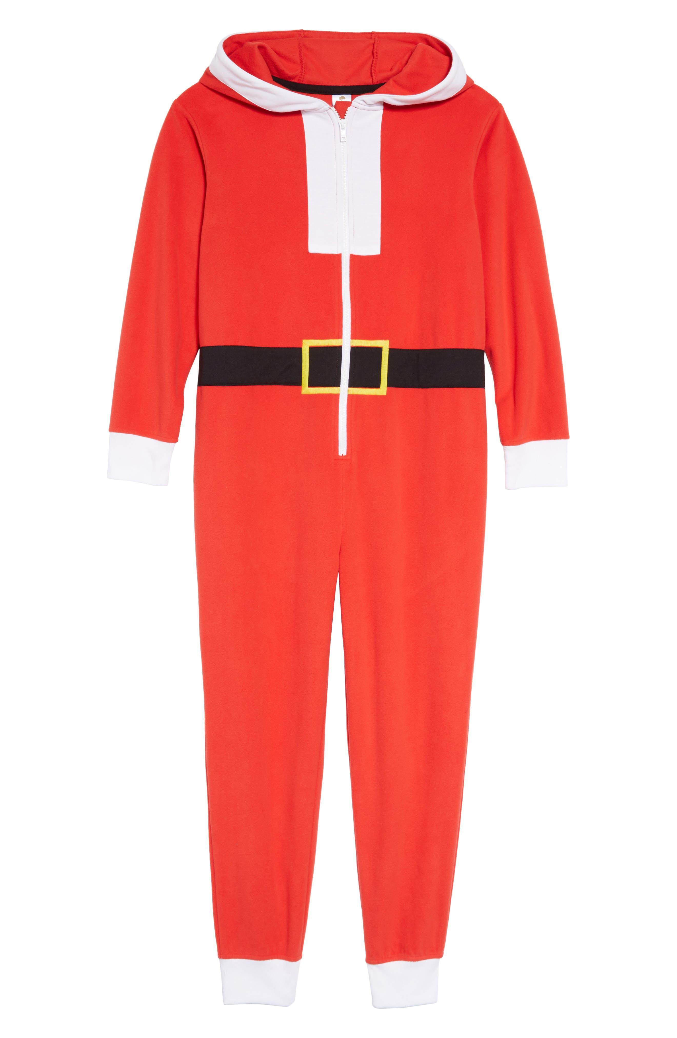 Santa Hooded One-Piece Pajamas,                             Main thumbnail 1, color,                             RED BLOOM SANTA SUIT