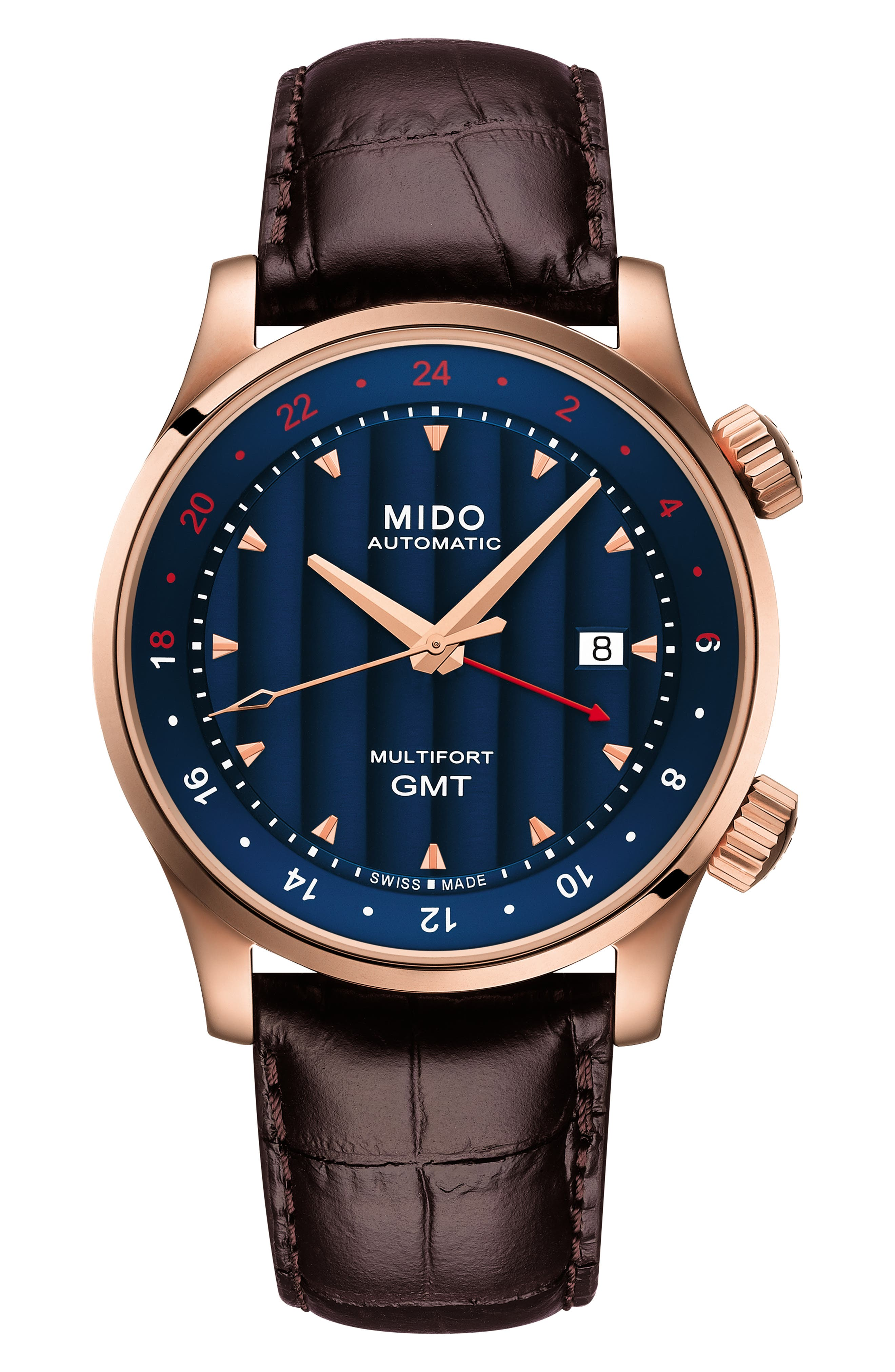 Multifort Automatic Leather Strap Watch, 42mm,                         Main,                         color, 200