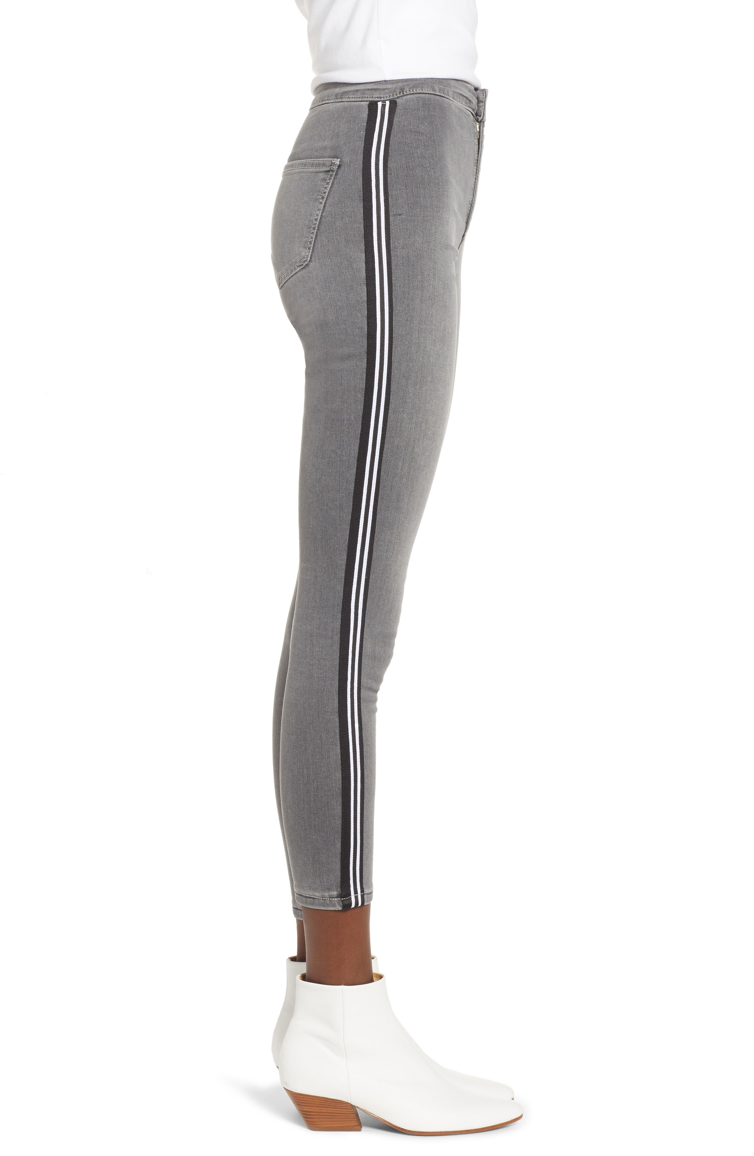 Joni Side Stripe Crop Skinny Jeans,                             Alternate thumbnail 3, color,                             GREY