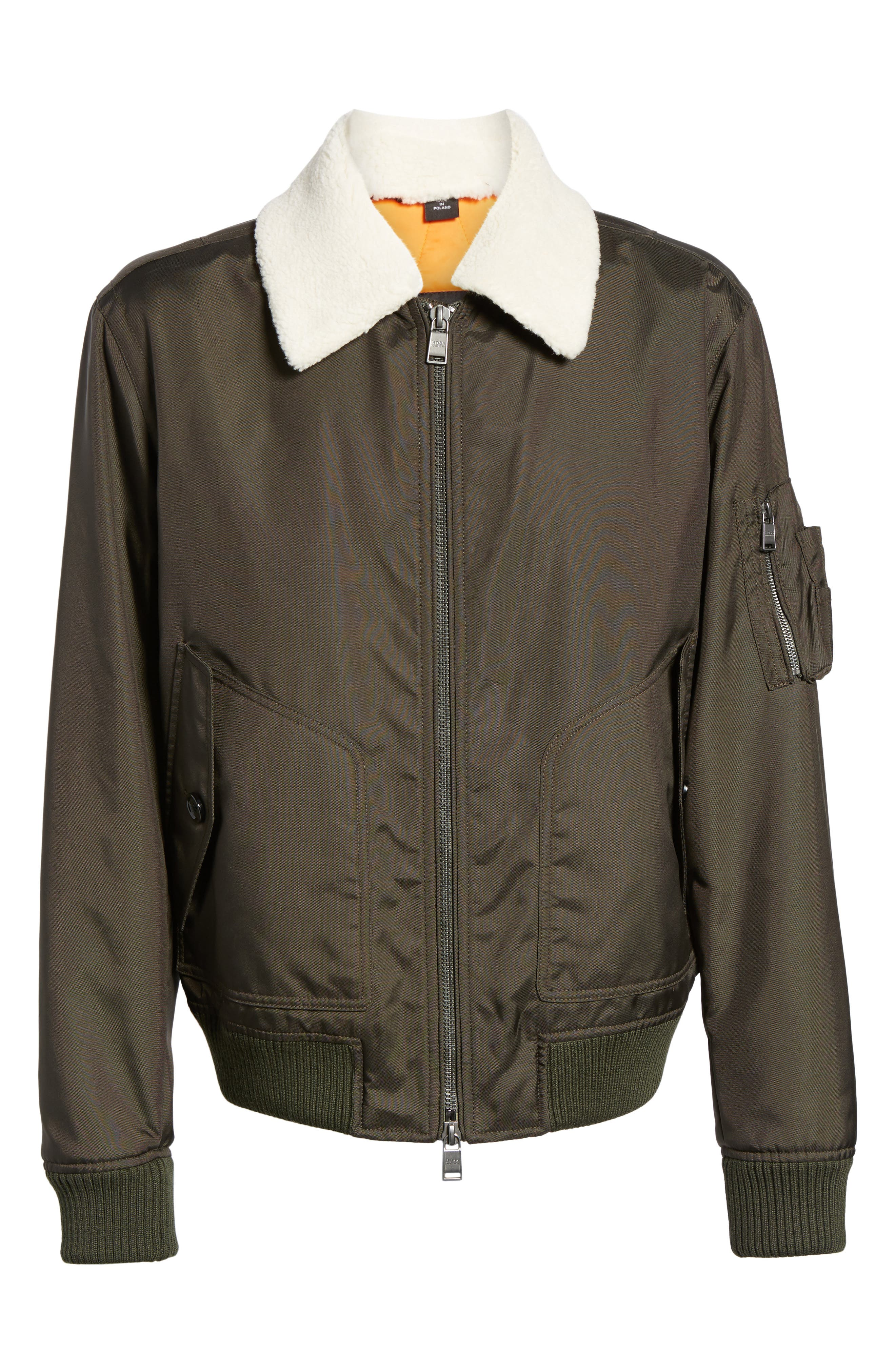 Cobra Aviator Jacket with Faux Fur Collar,                             Alternate thumbnail 5, color,