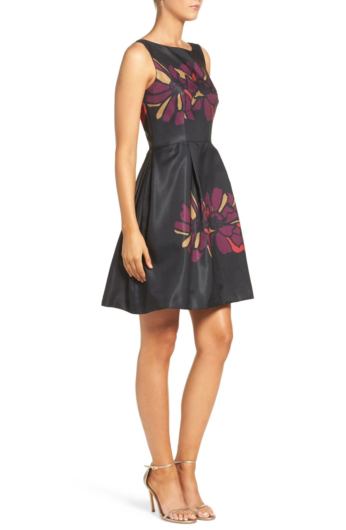 Placed Floral Fit & Flare Dress,                             Alternate thumbnail 4, color,                             011