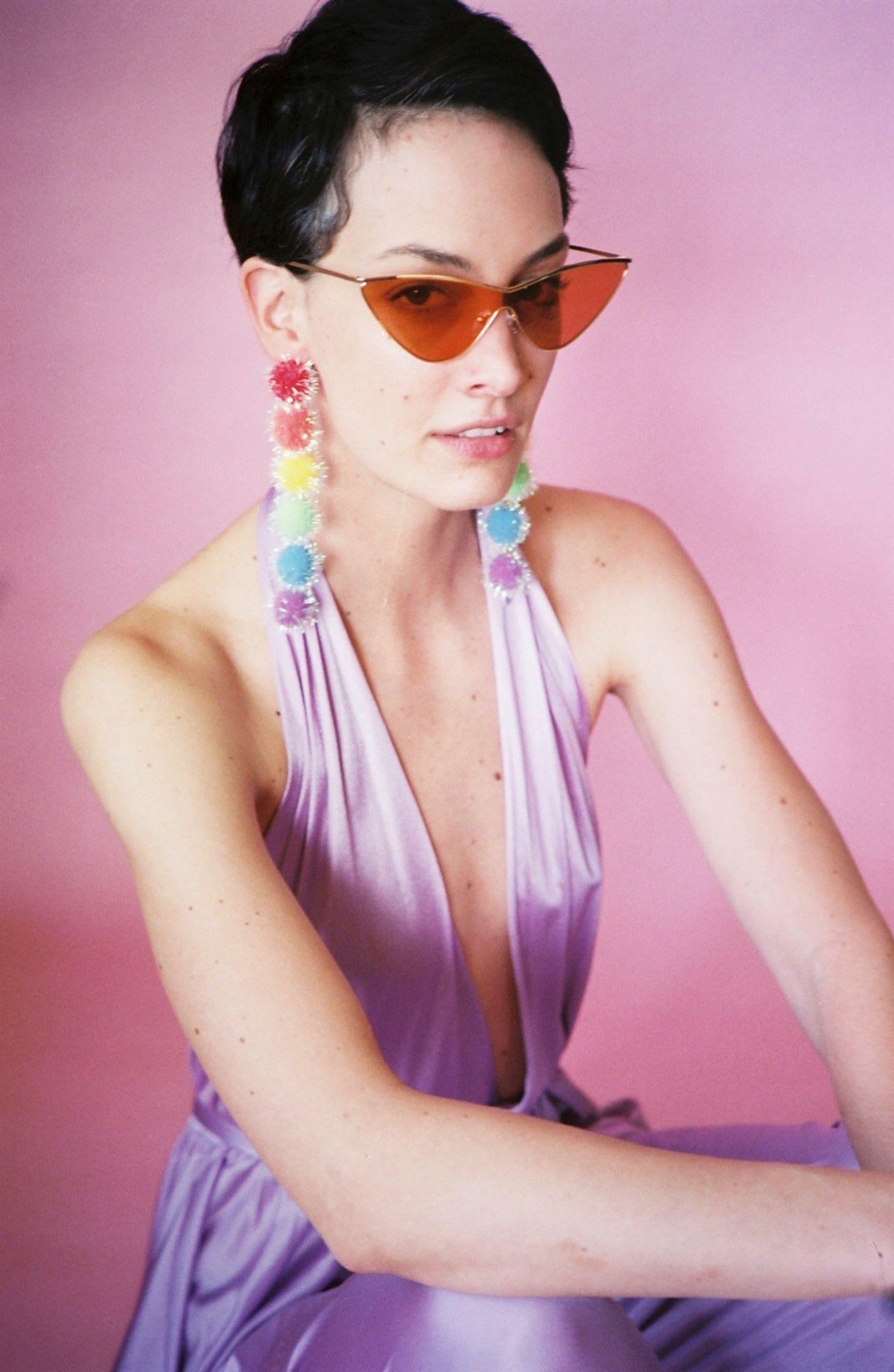 Rainbow Puff Drop Earrings,                             Alternate thumbnail 2, color,