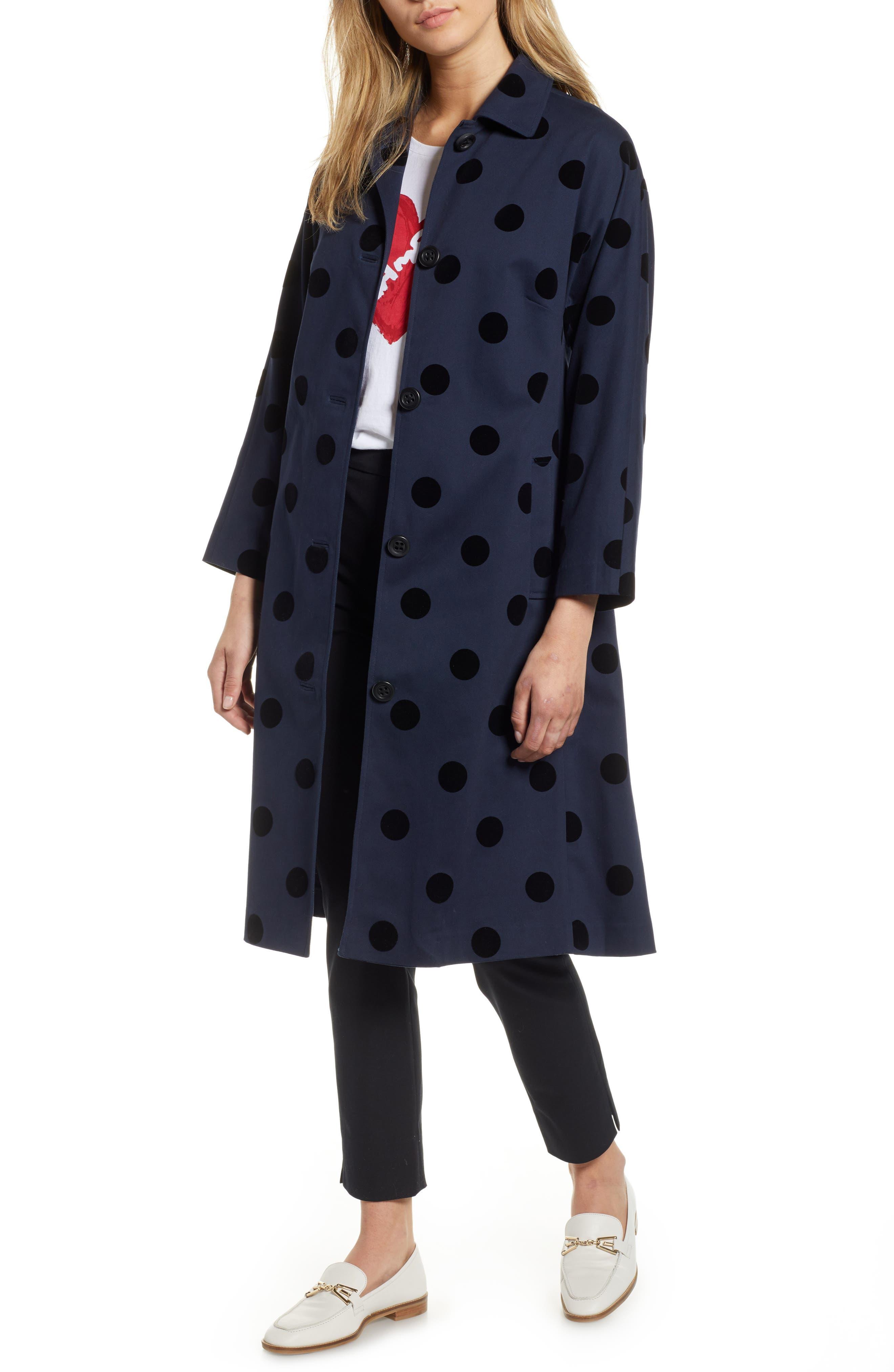 1950s Jackets, Coats, Bolero | Swing, Pin Up, Rockabilly Petite Womens 1901 Polka Dot Swing Coat Size 00P - Blue $95.40 AT vintagedancer.com