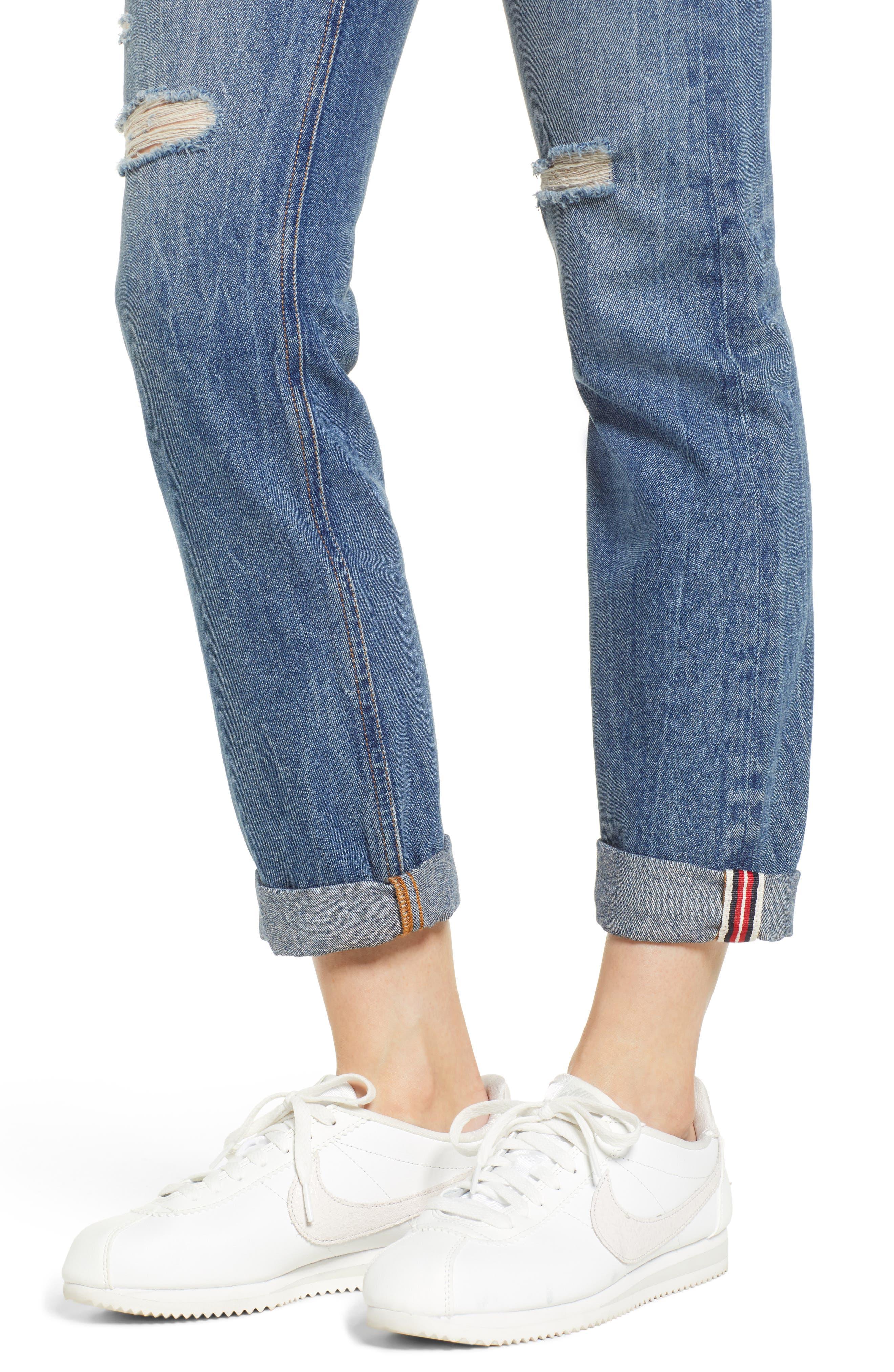 SP BLACK,                             Cuffed Ripped Boyfriend Jeans,                             Alternate thumbnail 5, color,                             420
