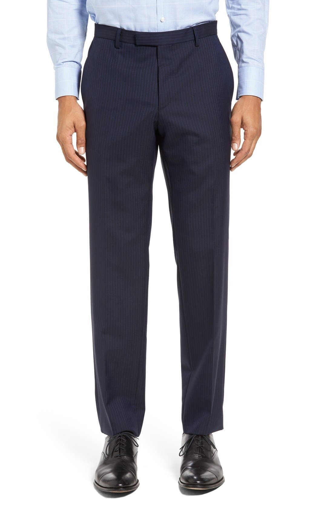 BOSS Johnstons/Lenon Trim Fit Stripe Wool Suit,                             Alternate thumbnail 6, color,                             402