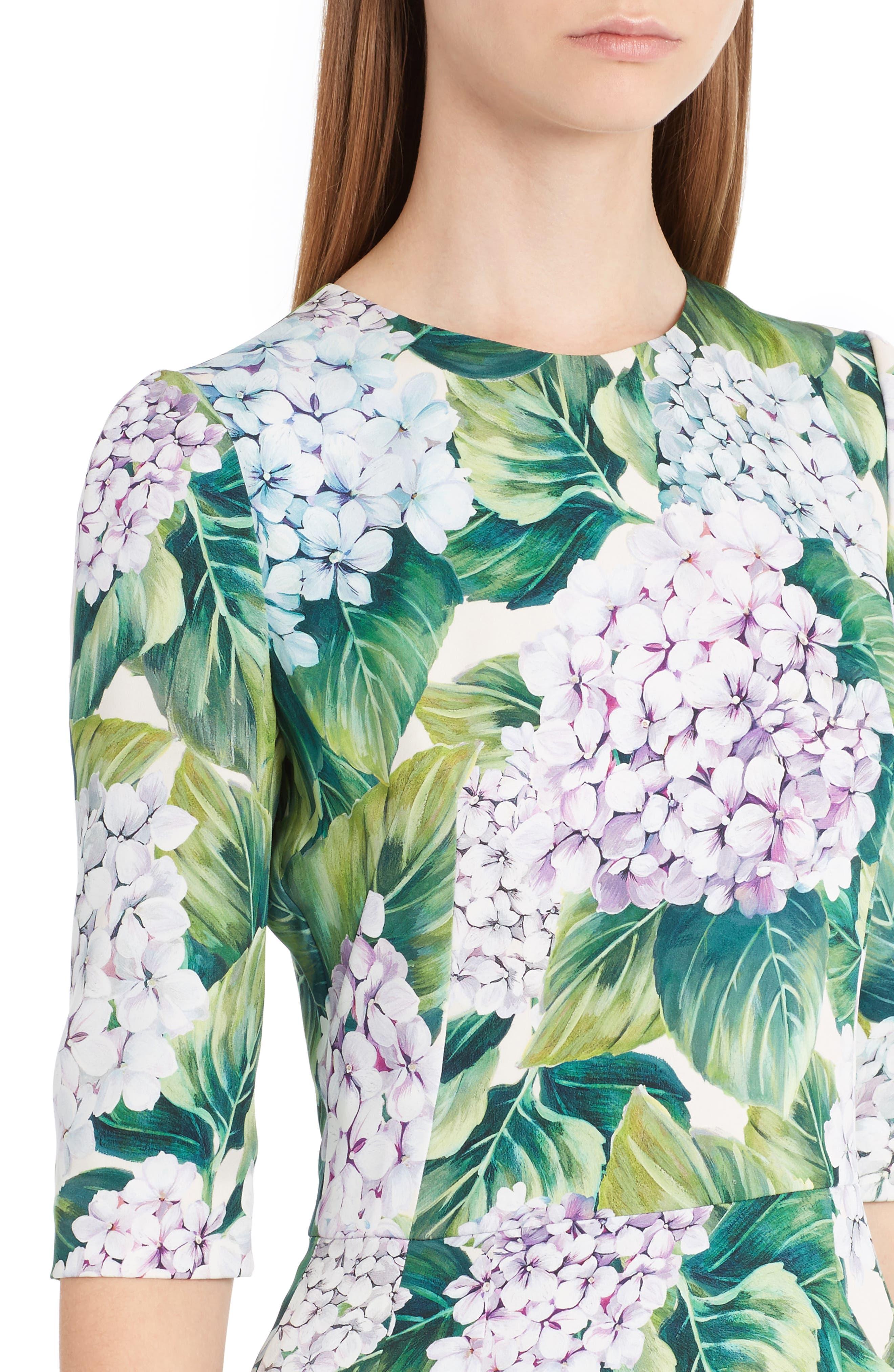 Hydrangea Print Stretch Silk Dress,                             Alternate thumbnail 4, color,                             300