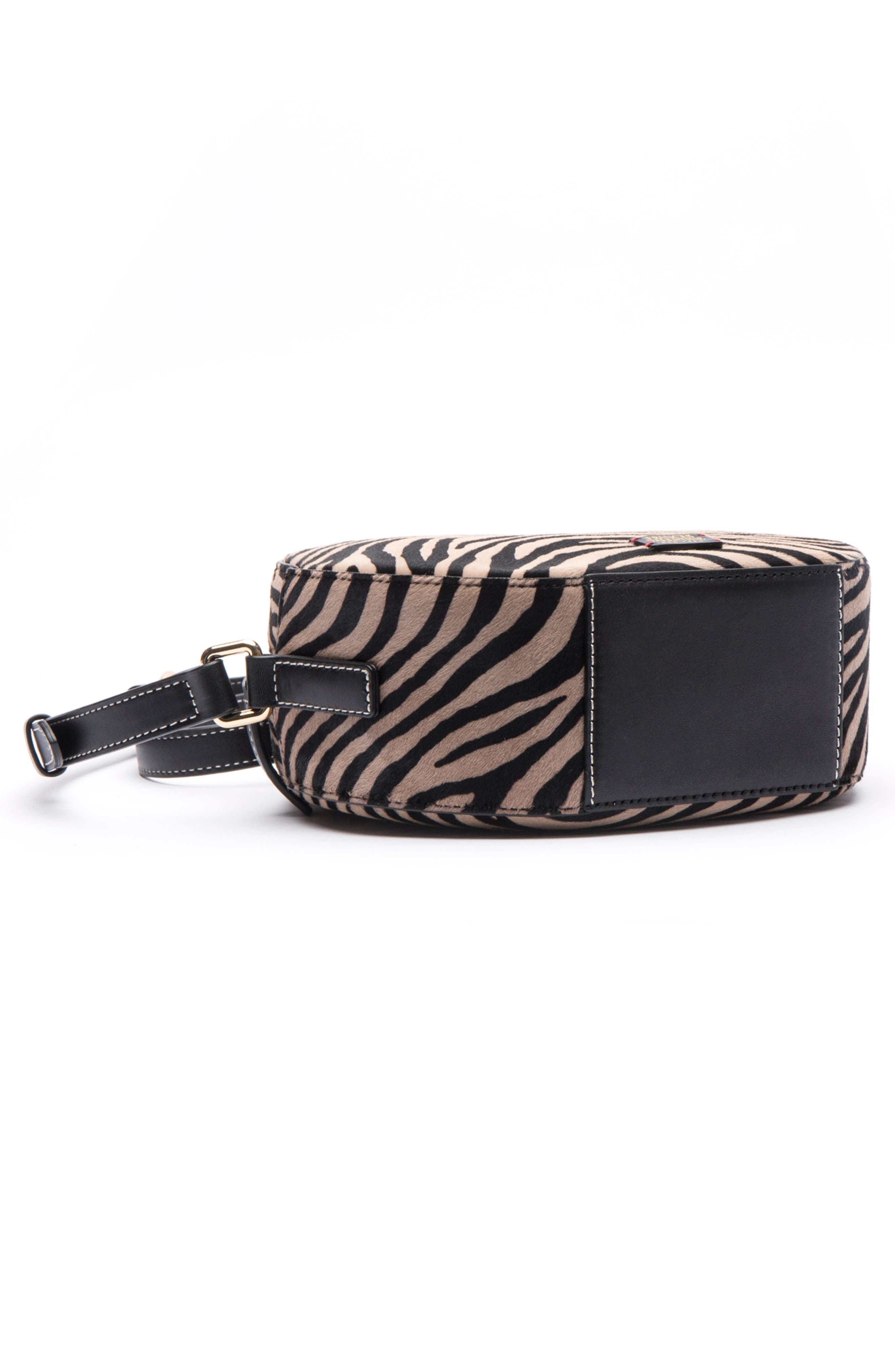 Frances Valetine Lulu Genuine Calf Hair Round Crossbody Bag,                             Alternate thumbnail 3, color,                             ZEBRA